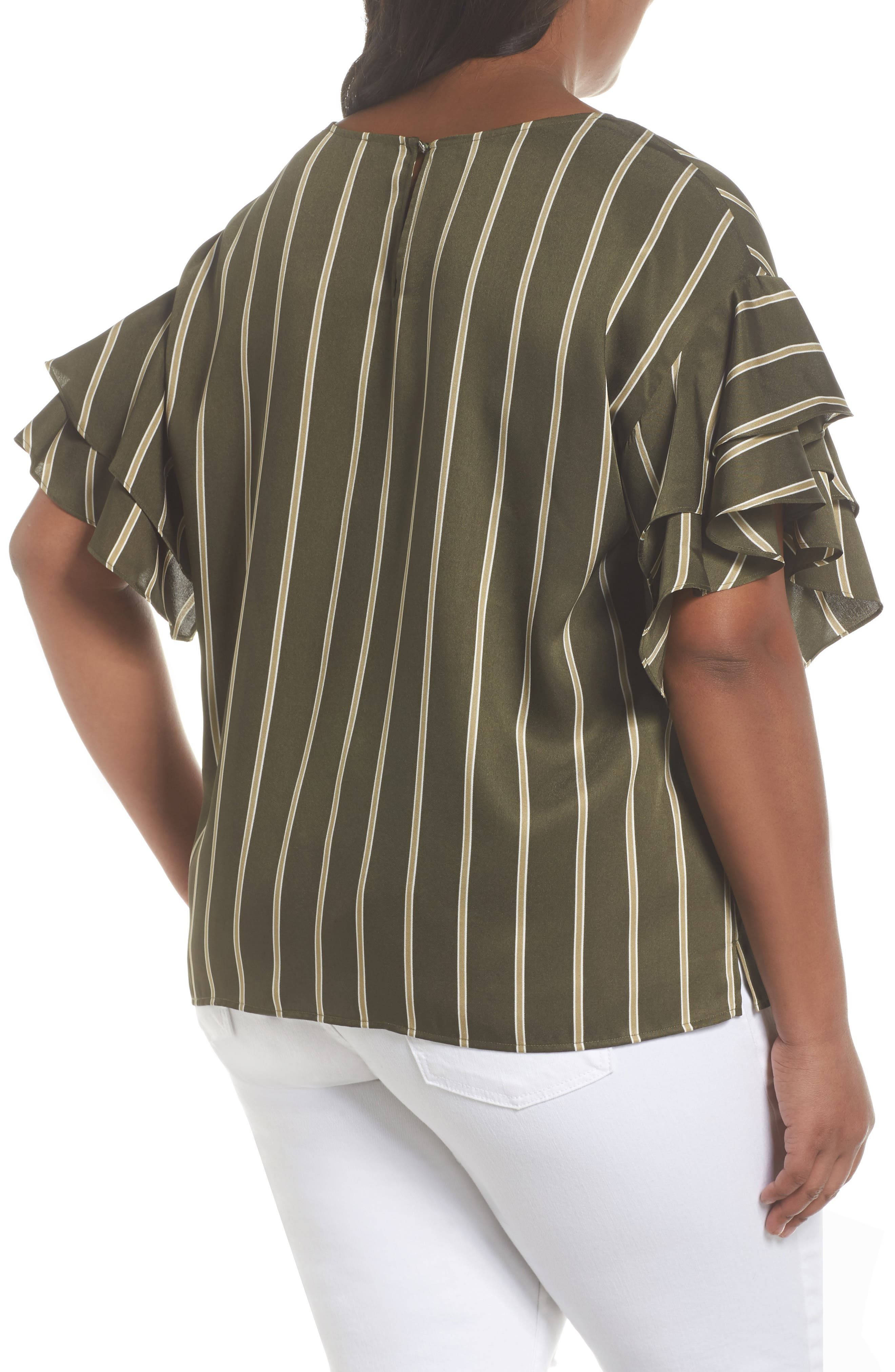 Tiered Ruffle Sleeve Stripe Top,                             Alternate thumbnail 2, color,                             360
