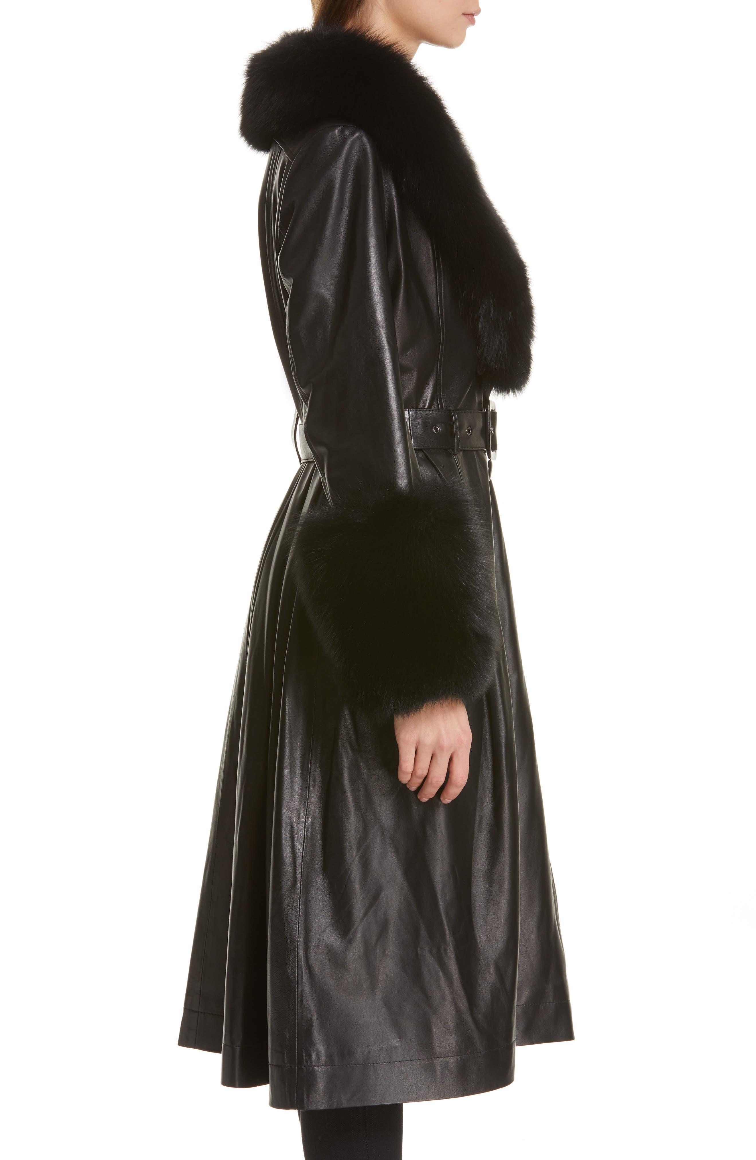 SAKS POTTS,                             Foxy Leather Coat with Genuine Fox Fur Trim,                             Alternate thumbnail 4, color,                             BLACK