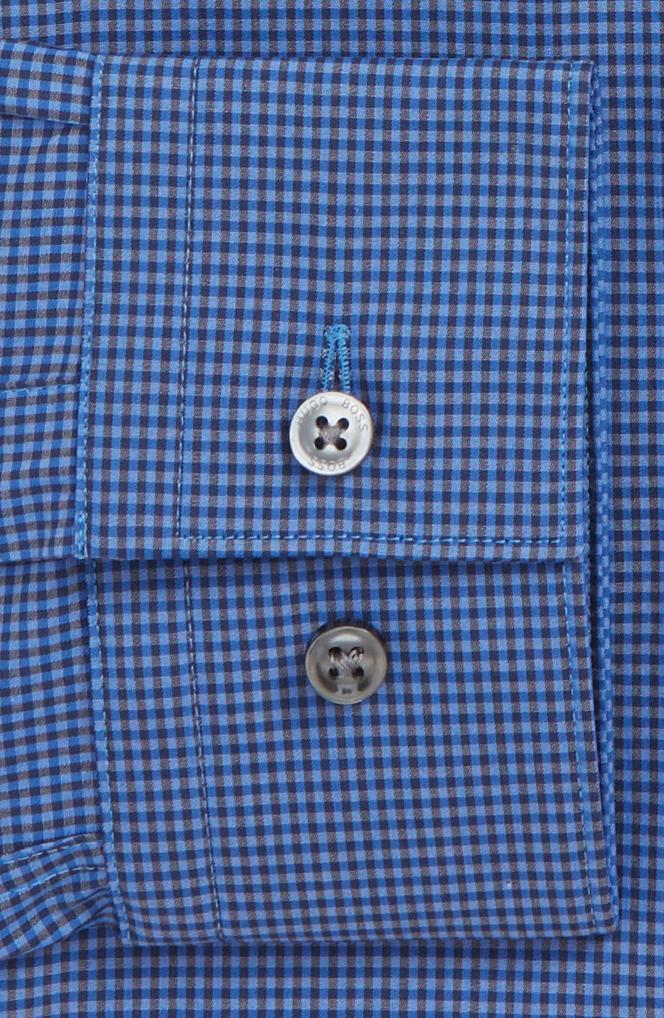 Isko Slim Fit Stretch Check Dress Shirt,                             Alternate thumbnail 6, color,                             BLUE