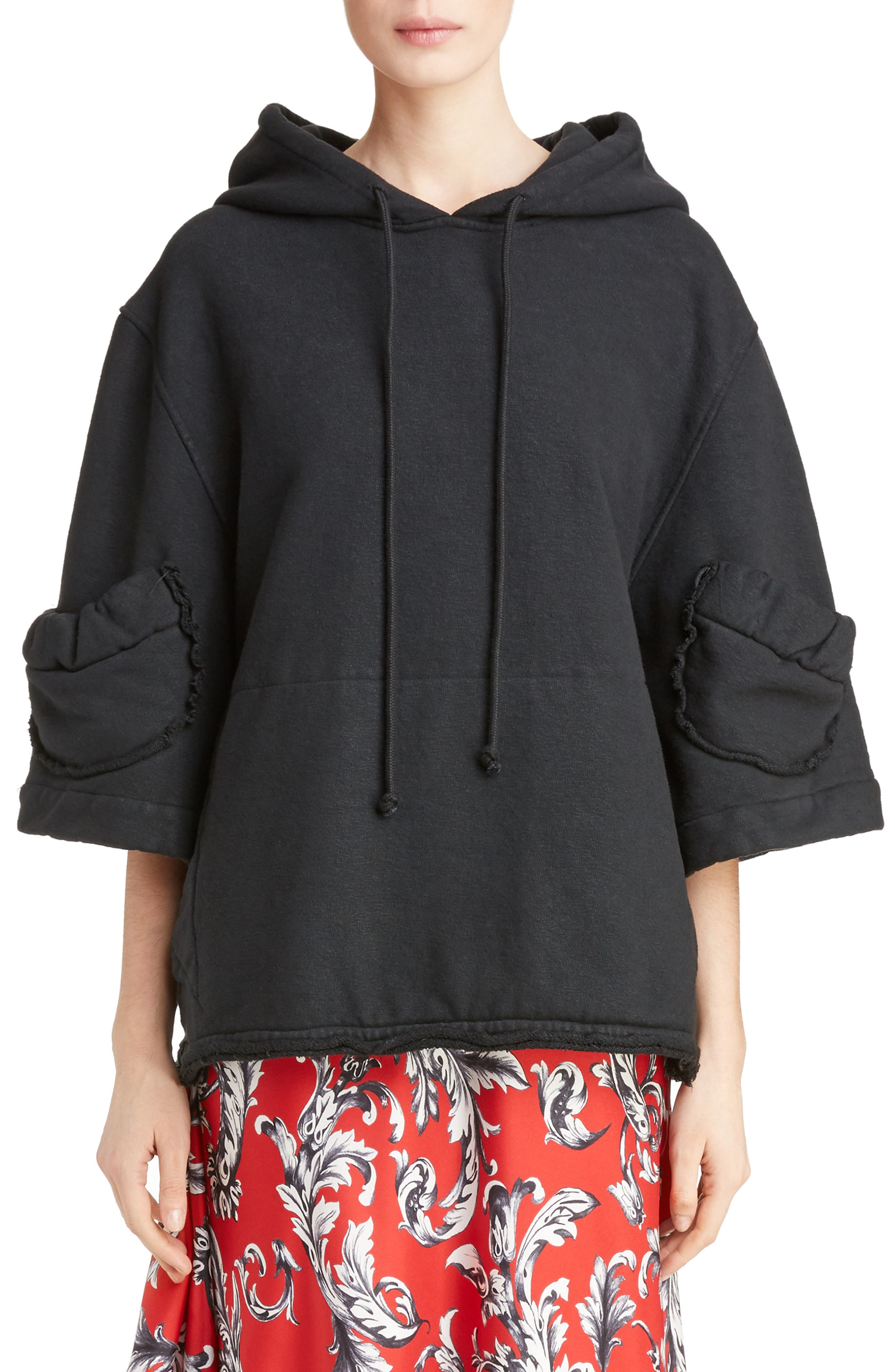 J.W.ANDERSON Oversized Crop Hoodie,                             Main thumbnail 1, color,                             001