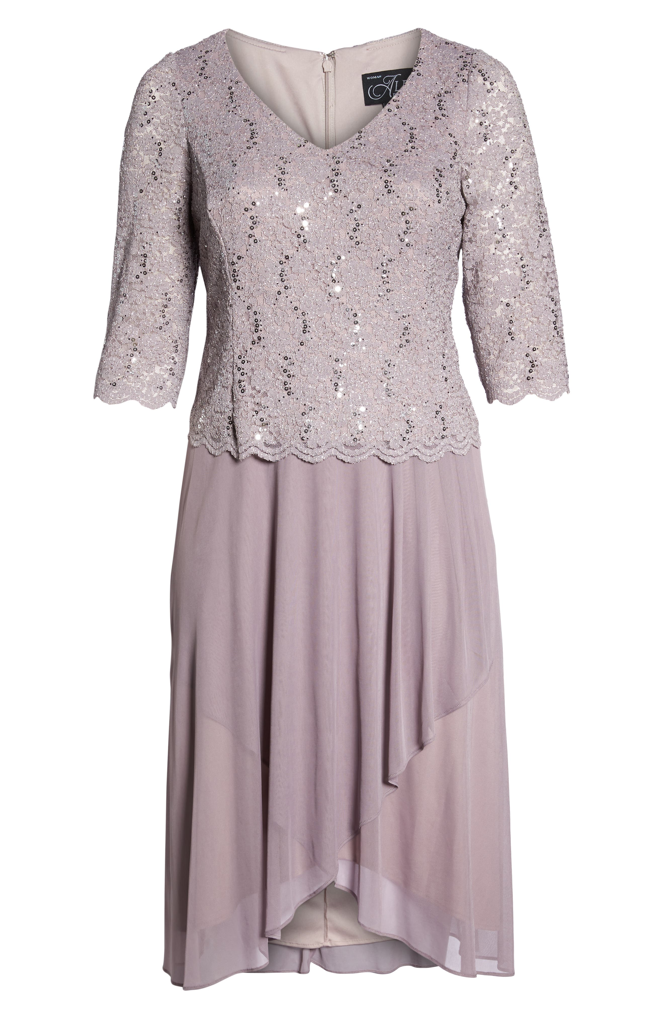 Tea Length Lace & Chiffon Mock Two-Piece Dress,                             Alternate thumbnail 6, color,                             595