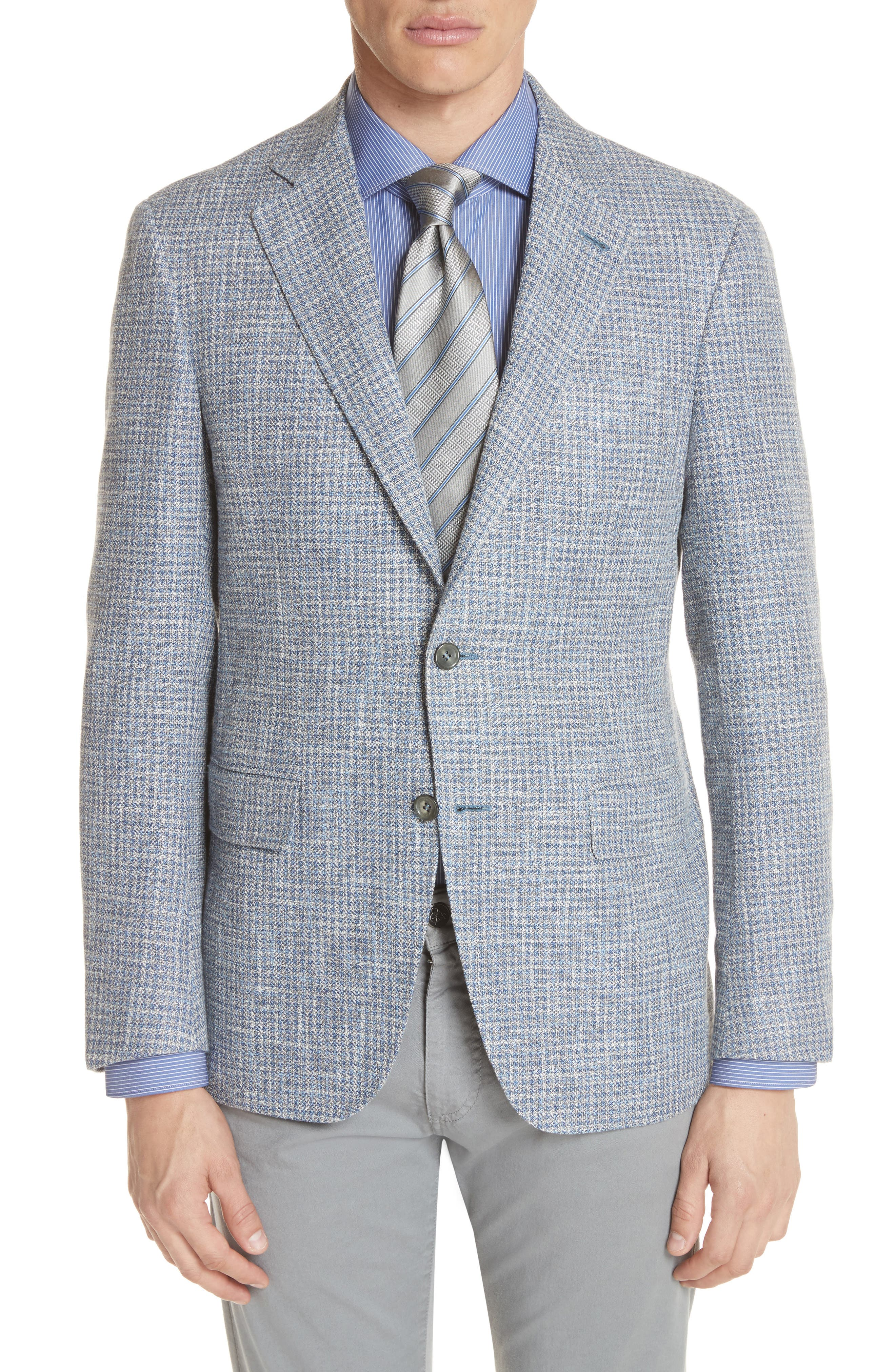 CANALI Kei Classic Fit Check Sport Coat, Main, color, 400