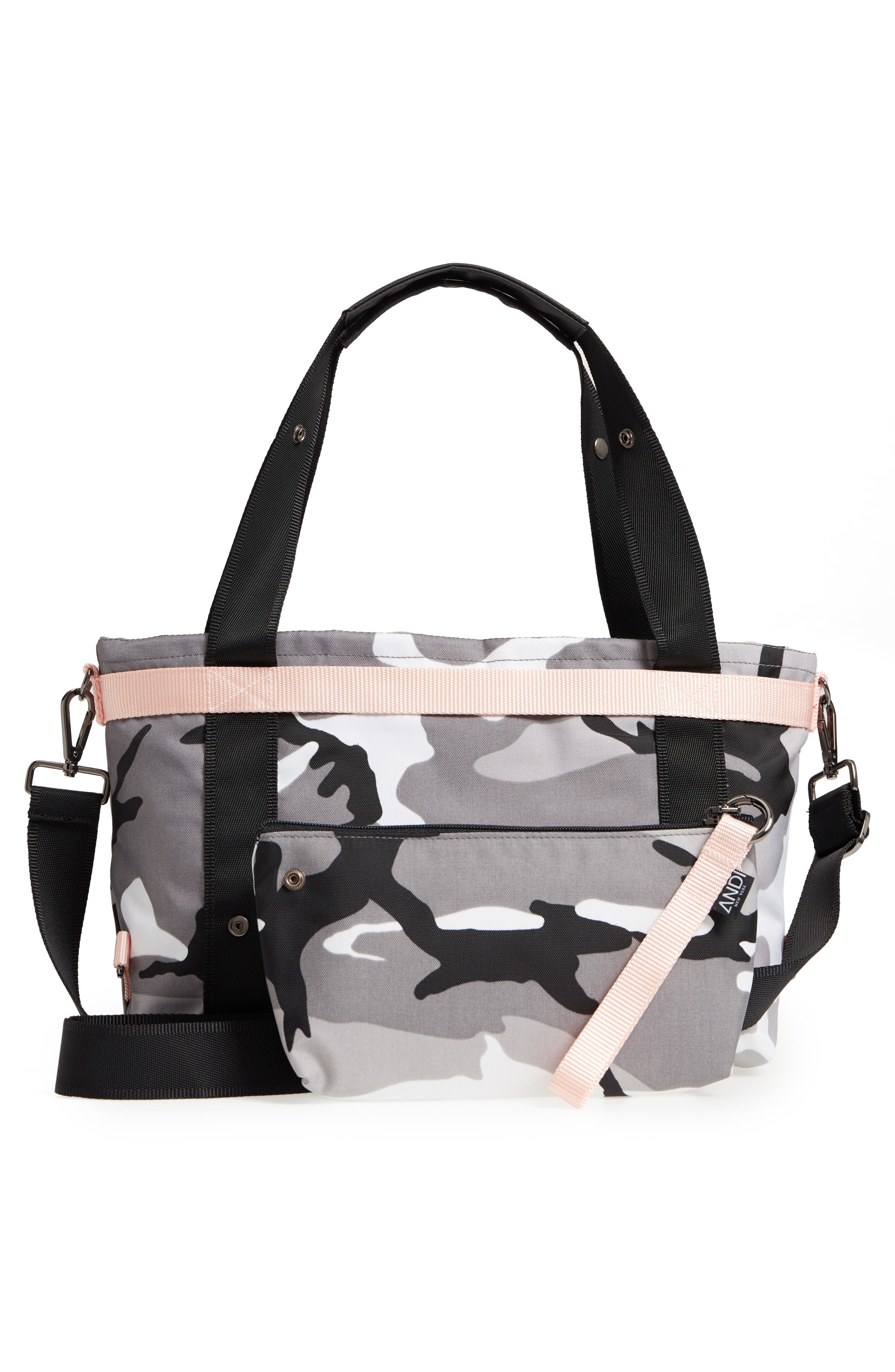 The ANDI Small Convertible Tote,                             Alternate thumbnail 4, color,                             BLACK/ WHITE/ GRAY/ PINK