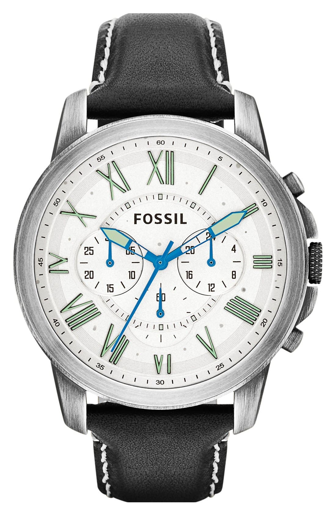 'Grant' Round Chronograph Leather Strap Watch, 44mm,                             Main thumbnail 6, color,