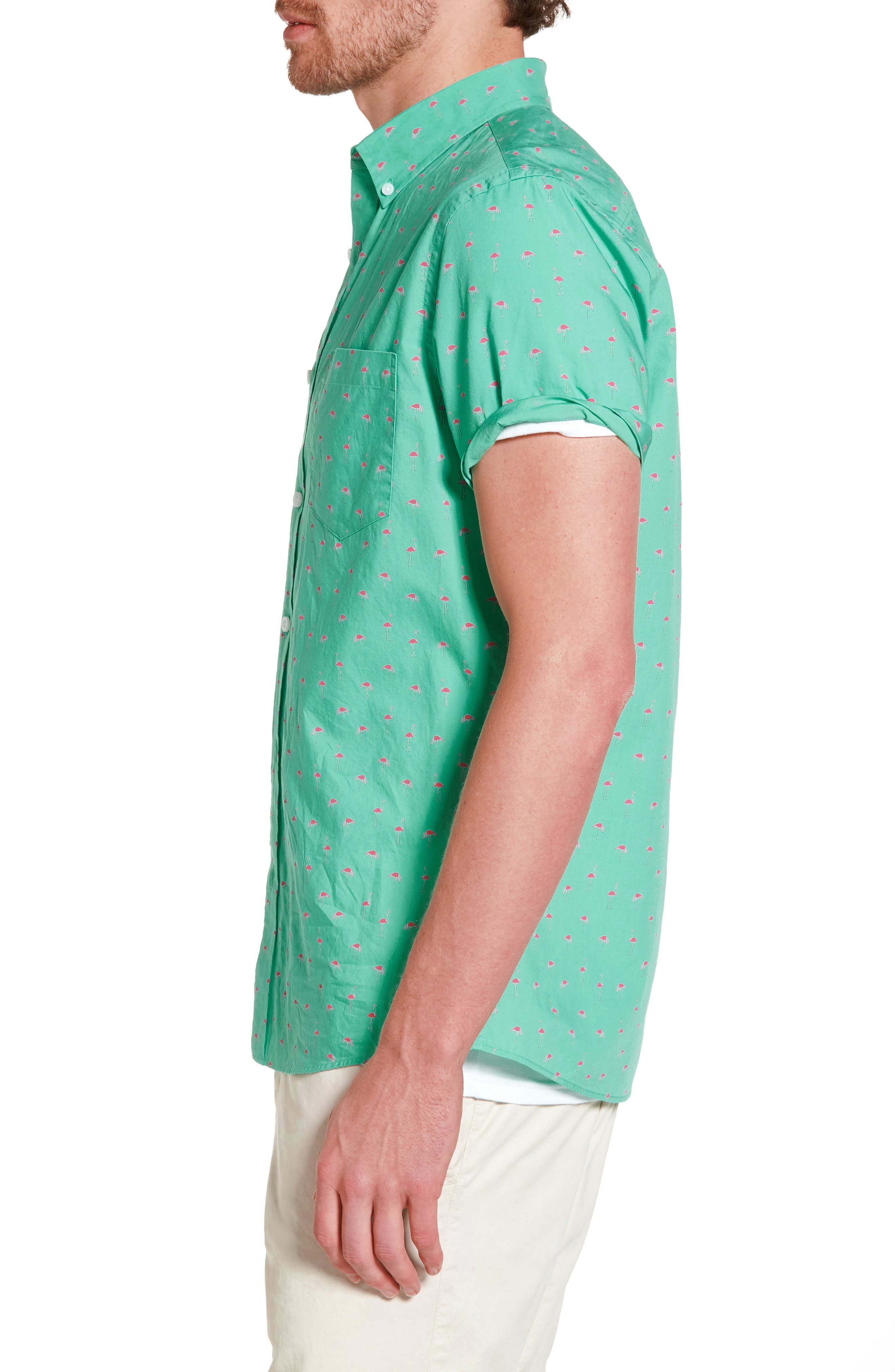 Slim Fit Flamingo Print Sport Shirt,                             Alternate thumbnail 3, color,                             310