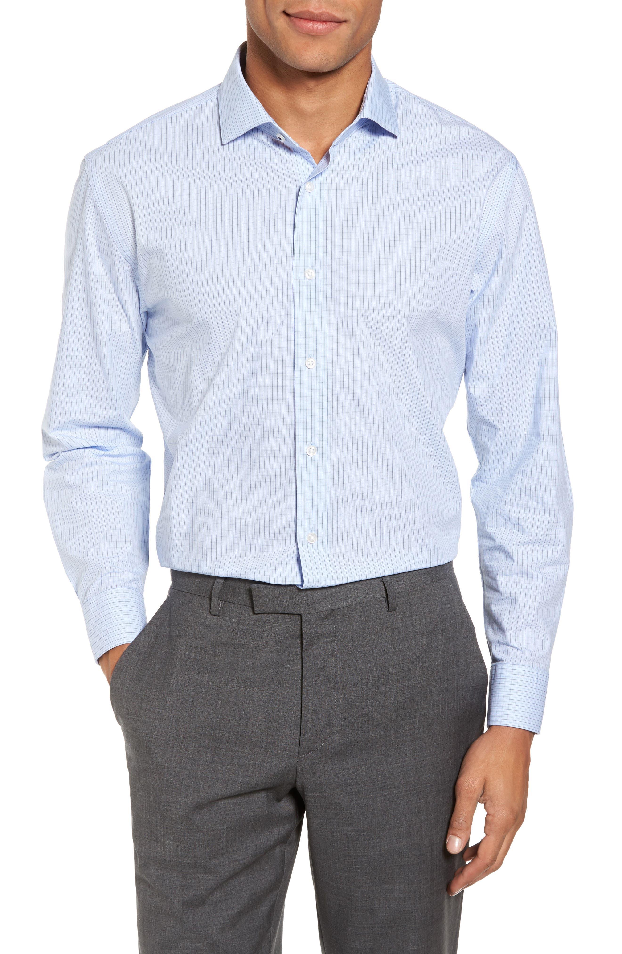 Tech-Smart Trim Fit Stretch Check Dress Shirt,                             Main thumbnail 1, color,