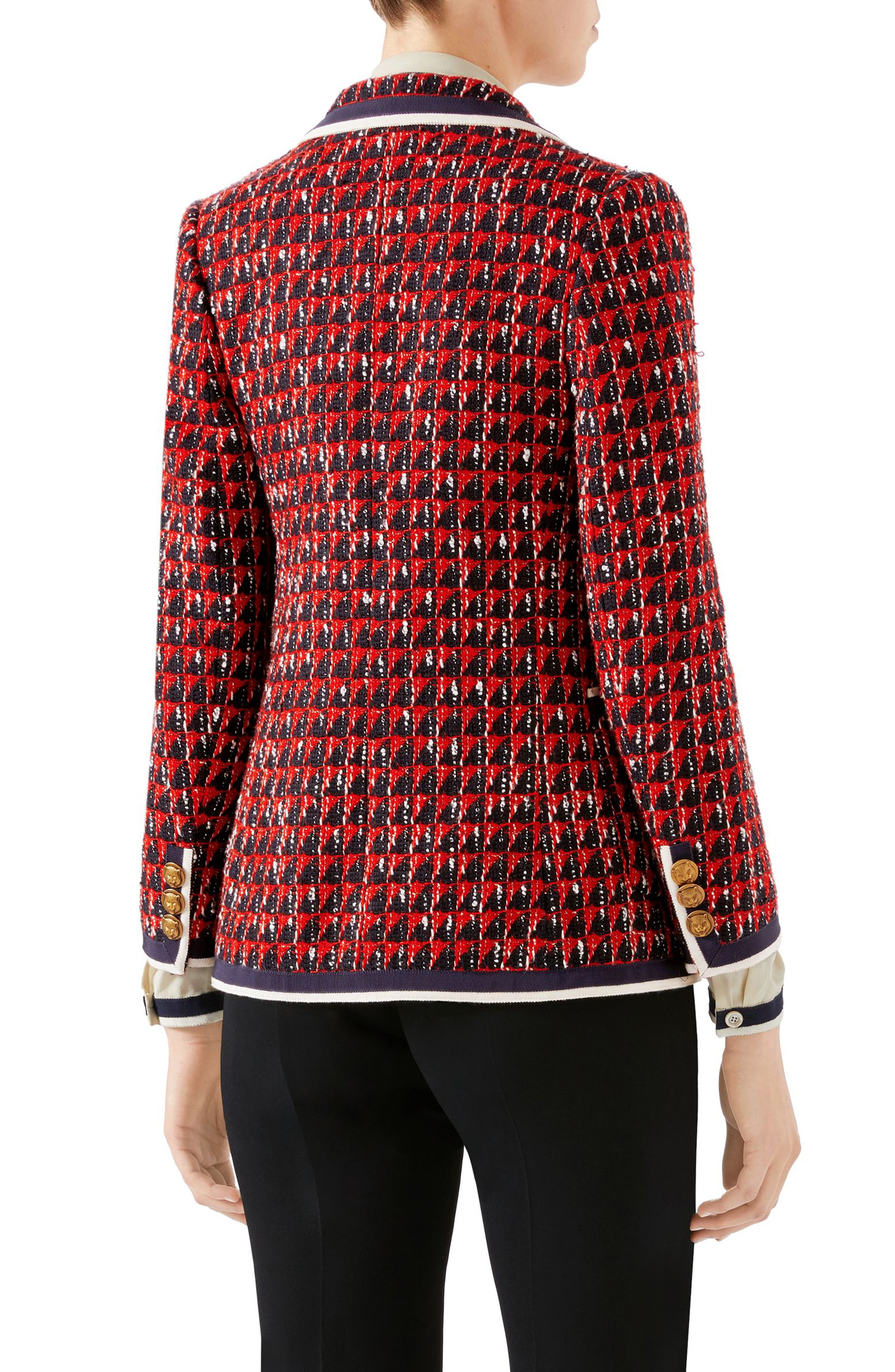 Geo Tweed Jacket,                             Alternate thumbnail 2, color,                             1880 BLACK/ RED/ WHITE