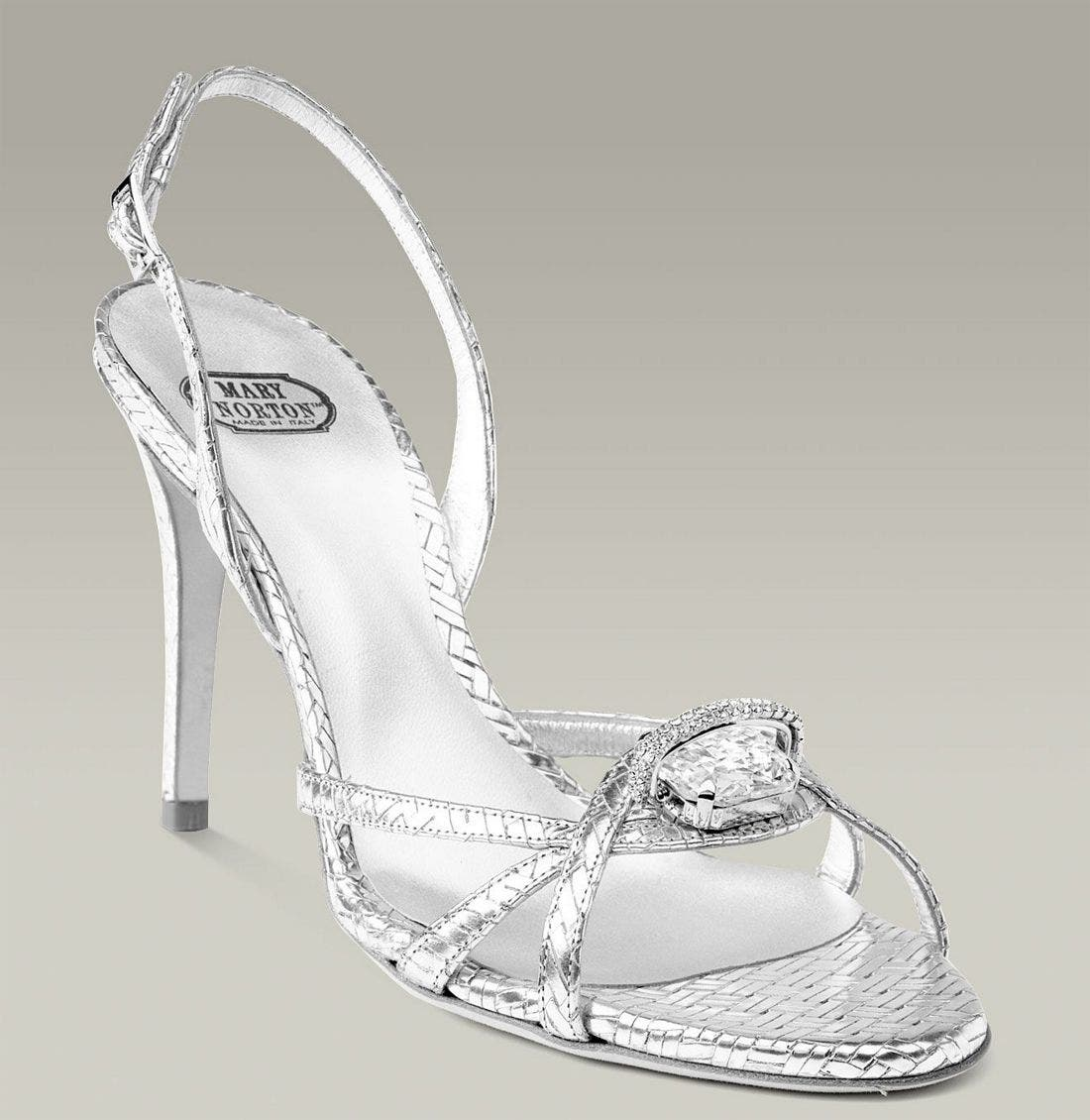 MARY NORTON,                             Metallic Leather Sandal with Swarovski Crystal,                             Main thumbnail 1, color,                             040