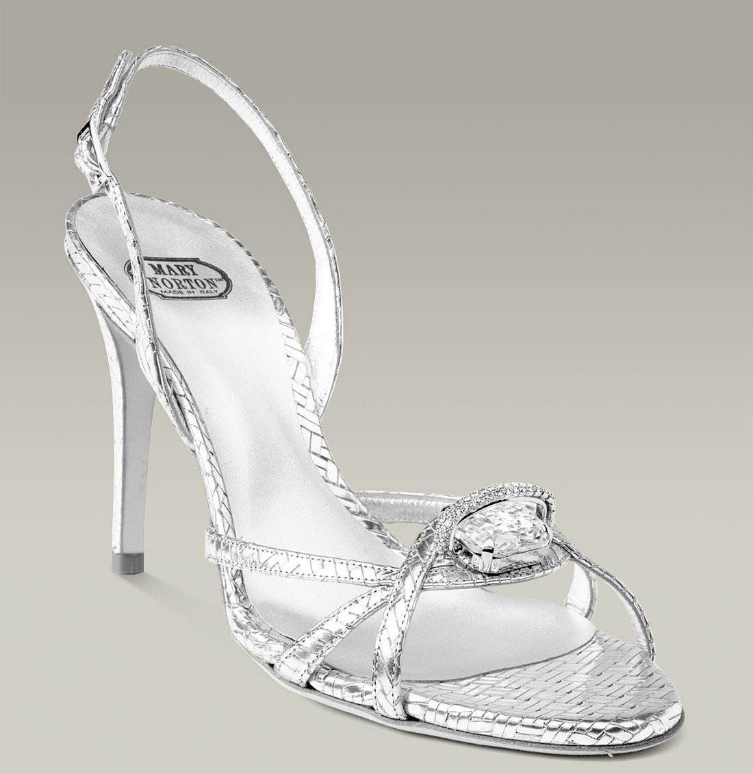 MARY NORTON Metallic Leather Sandal with Swarovski Crystal, Main, color, 040