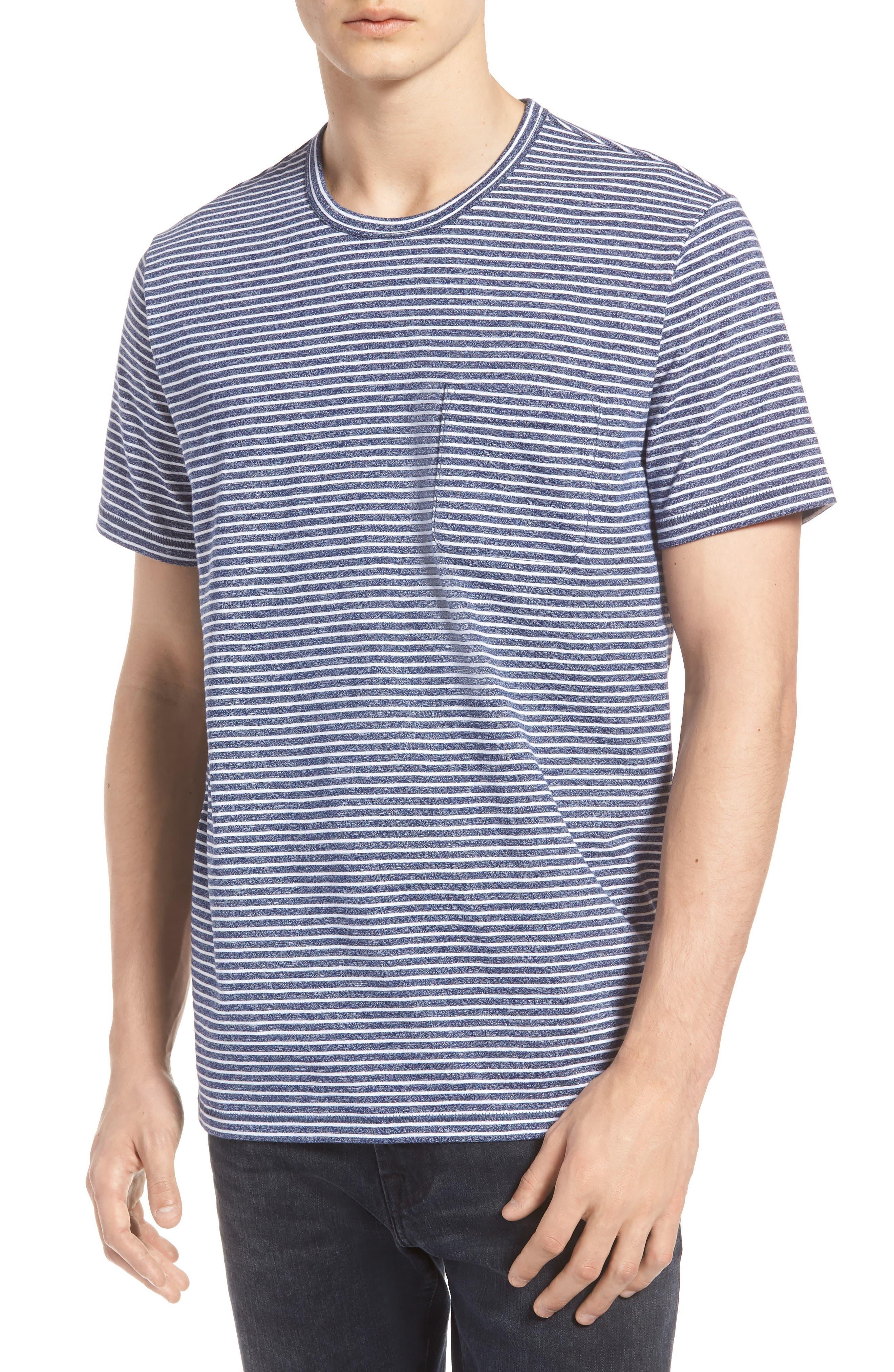 Yarn Dyed Stripe T-Shirt,                         Main,                         color, NAVY IRIS STRIPE