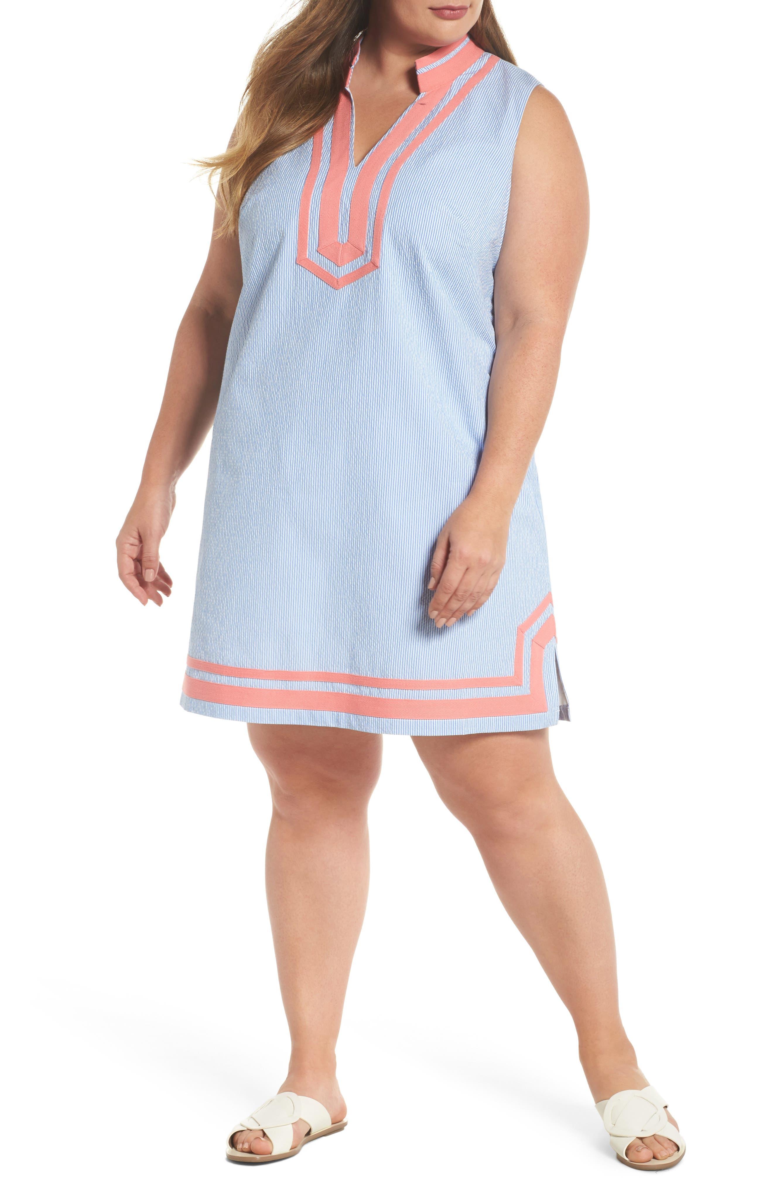 Mandarin Collar Contrast Trim Seersucker Shift Dress,                         Main,                         color,