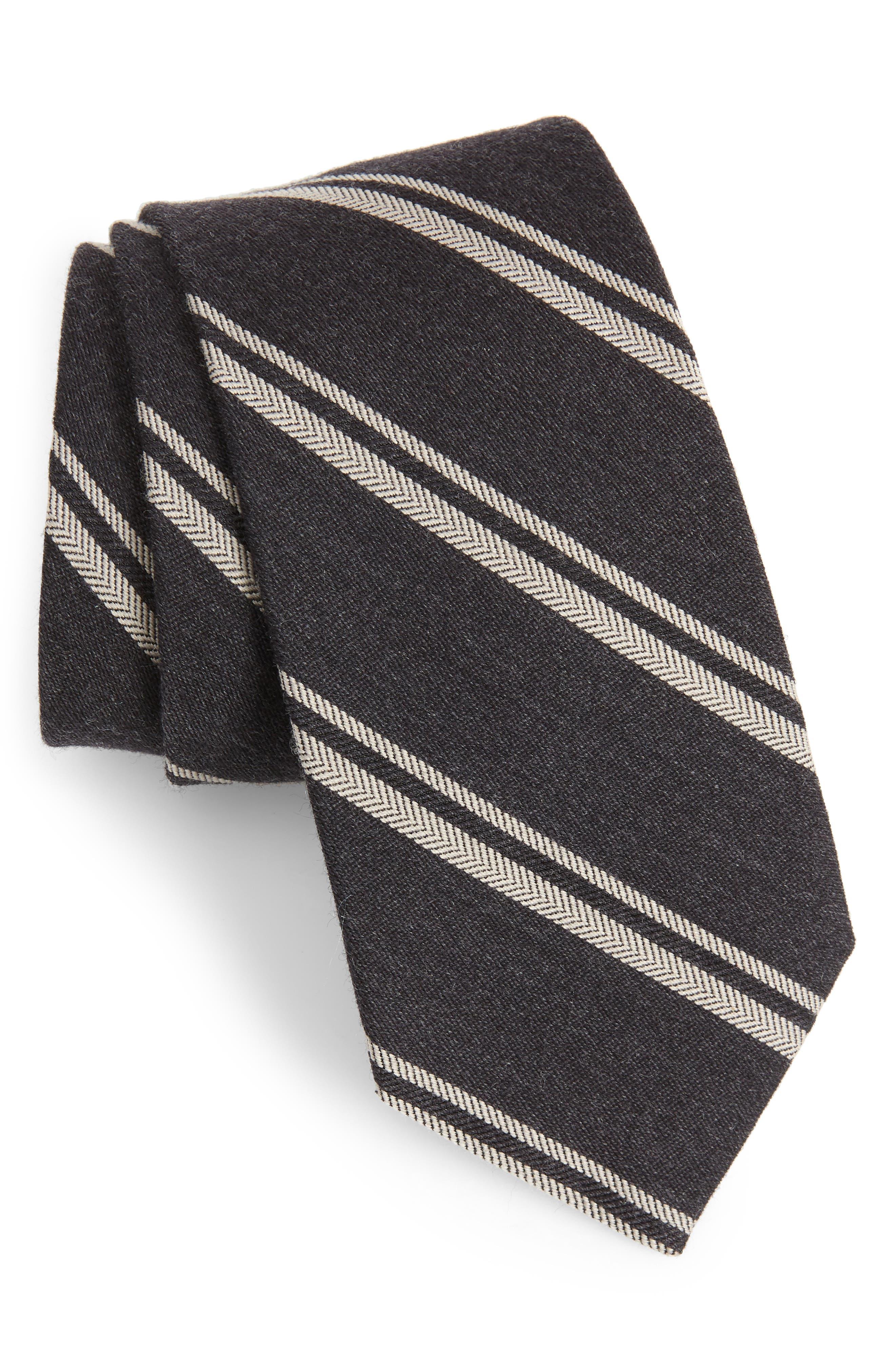 Dornach Stripe Wool & Silk Tie,                             Main thumbnail 1, color,                             BLACK PEPPER STRIPE