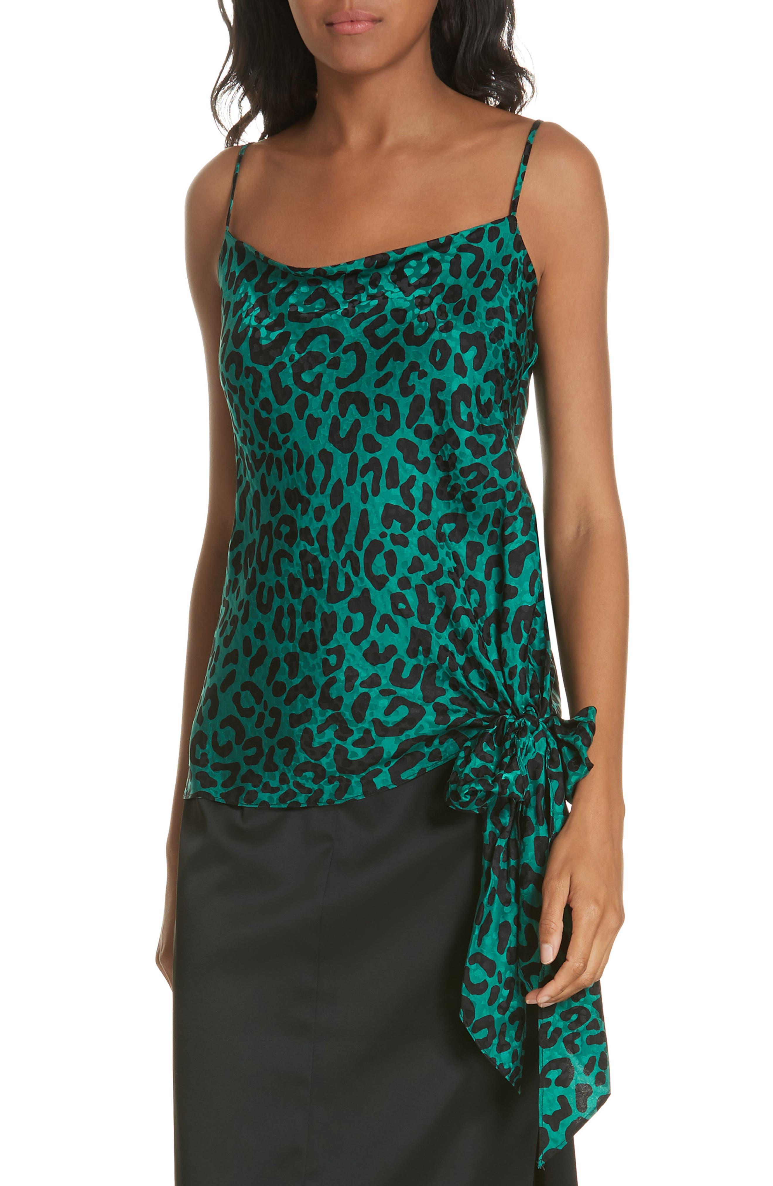 Leopard Print Tie Waist Silk Jacquard Camisole,                         Main,                         color, EMERALD