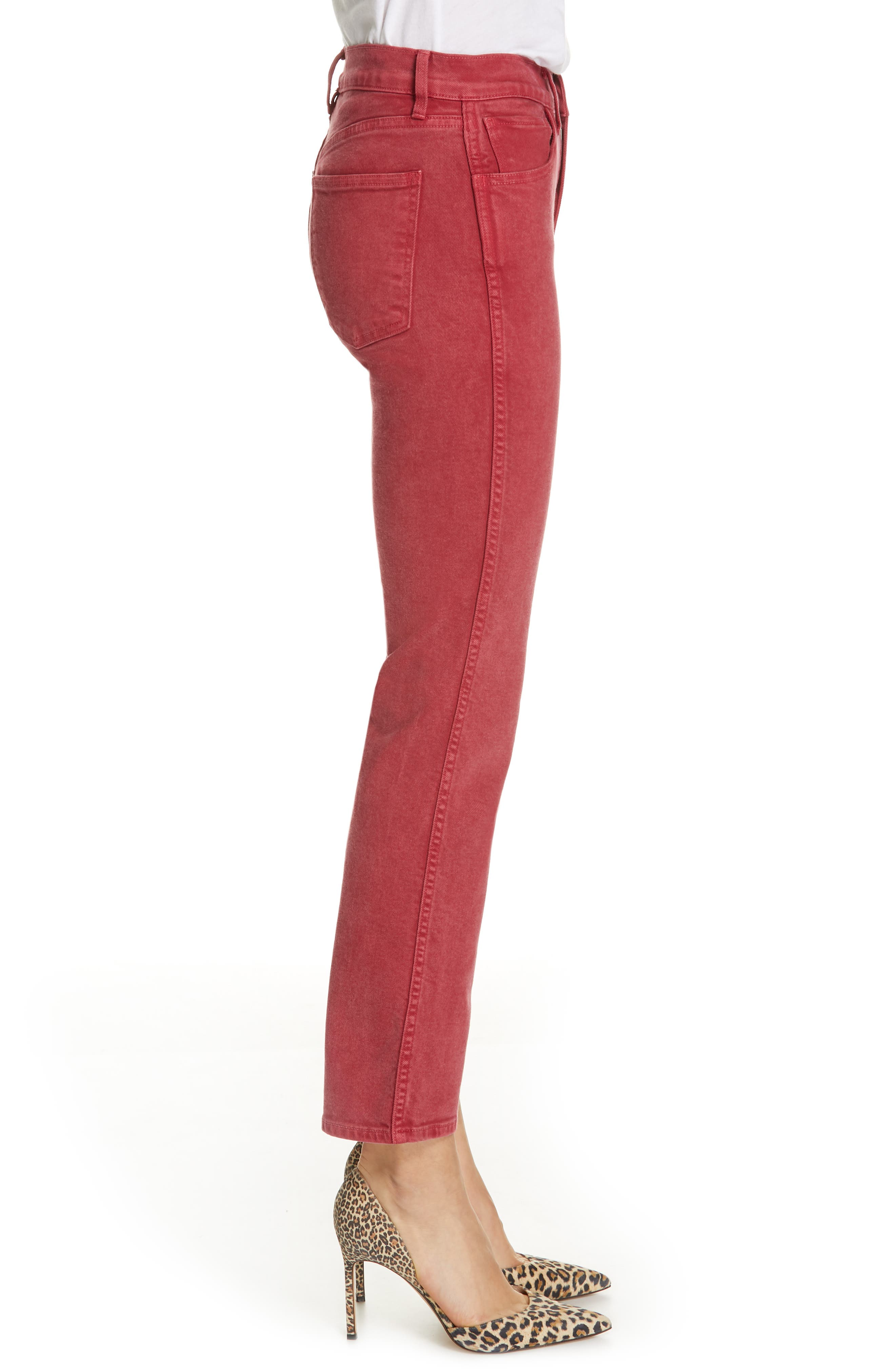 3X1 NYC,                             Stevie Straight Leg Jeans,                             Alternate thumbnail 3, color,                             MINERAL RUST RED