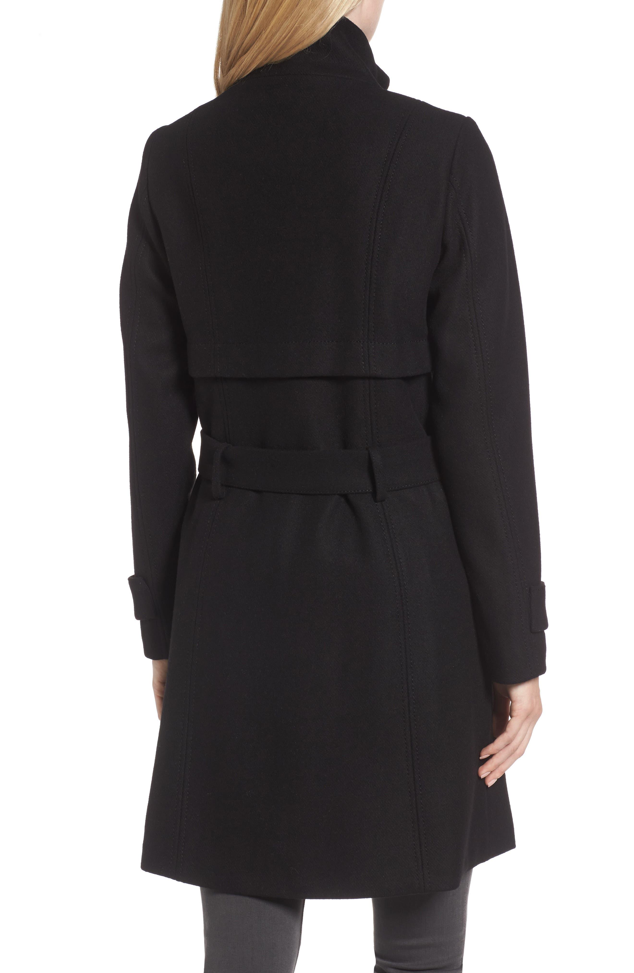 Flange Belted Coat,                             Alternate thumbnail 2, color,                             001