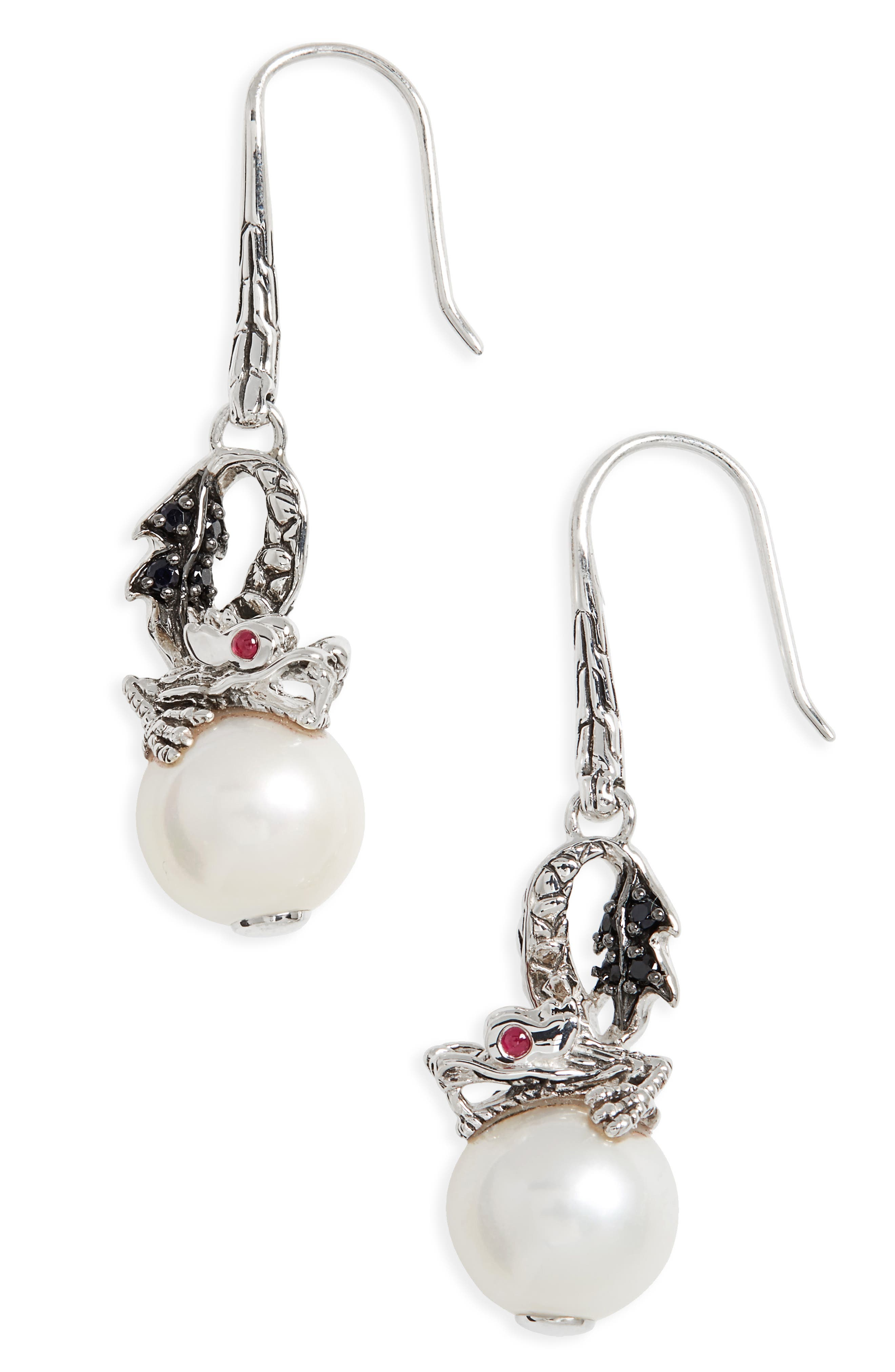 'Naga - Lava' Dragon & Pearl Drop Earrings,                             Main thumbnail 1, color,                             SILVER