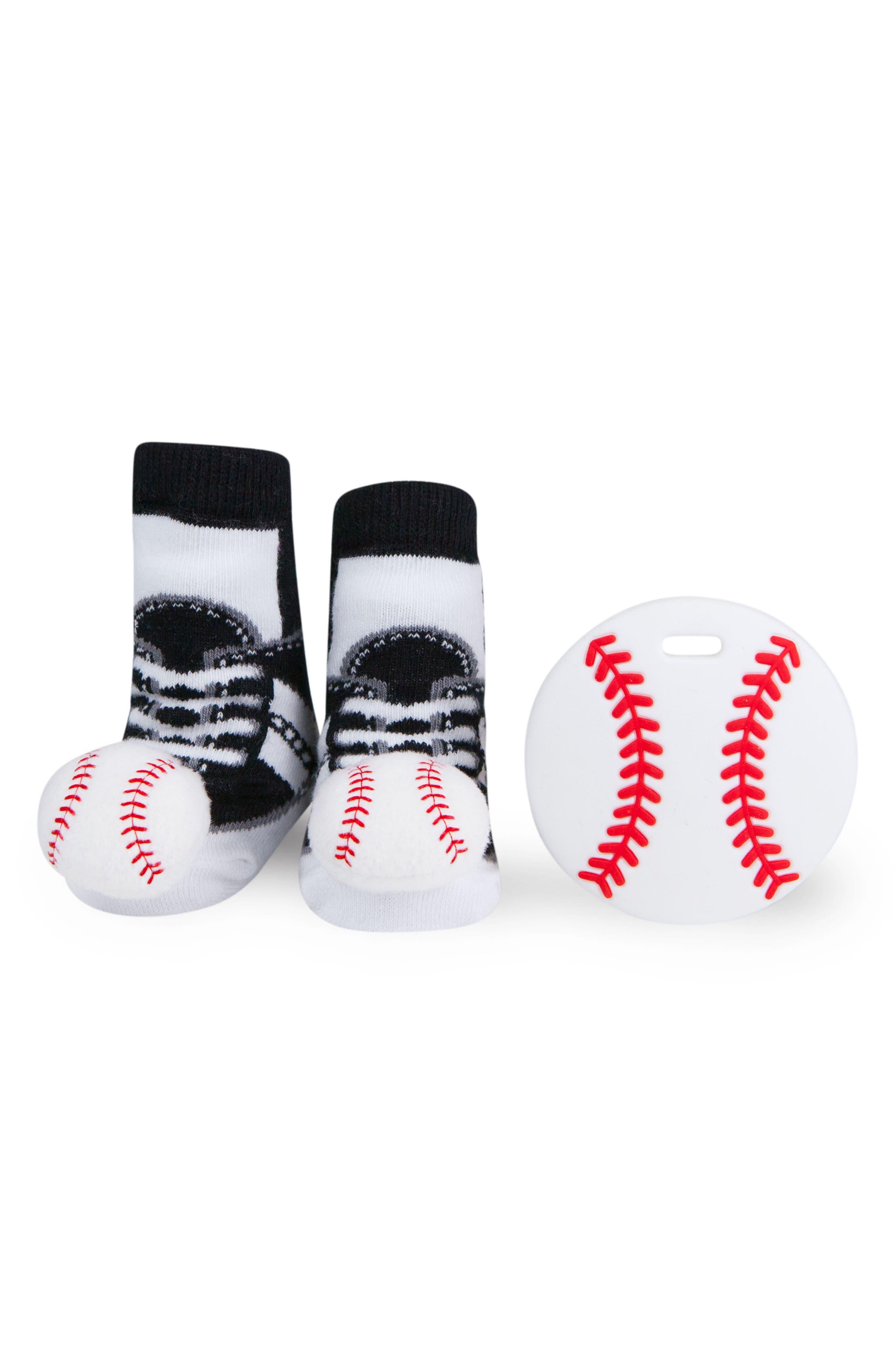 Baseball Rattle Socks & Teether Gift Set,                             Main thumbnail 1, color,                             WHITE