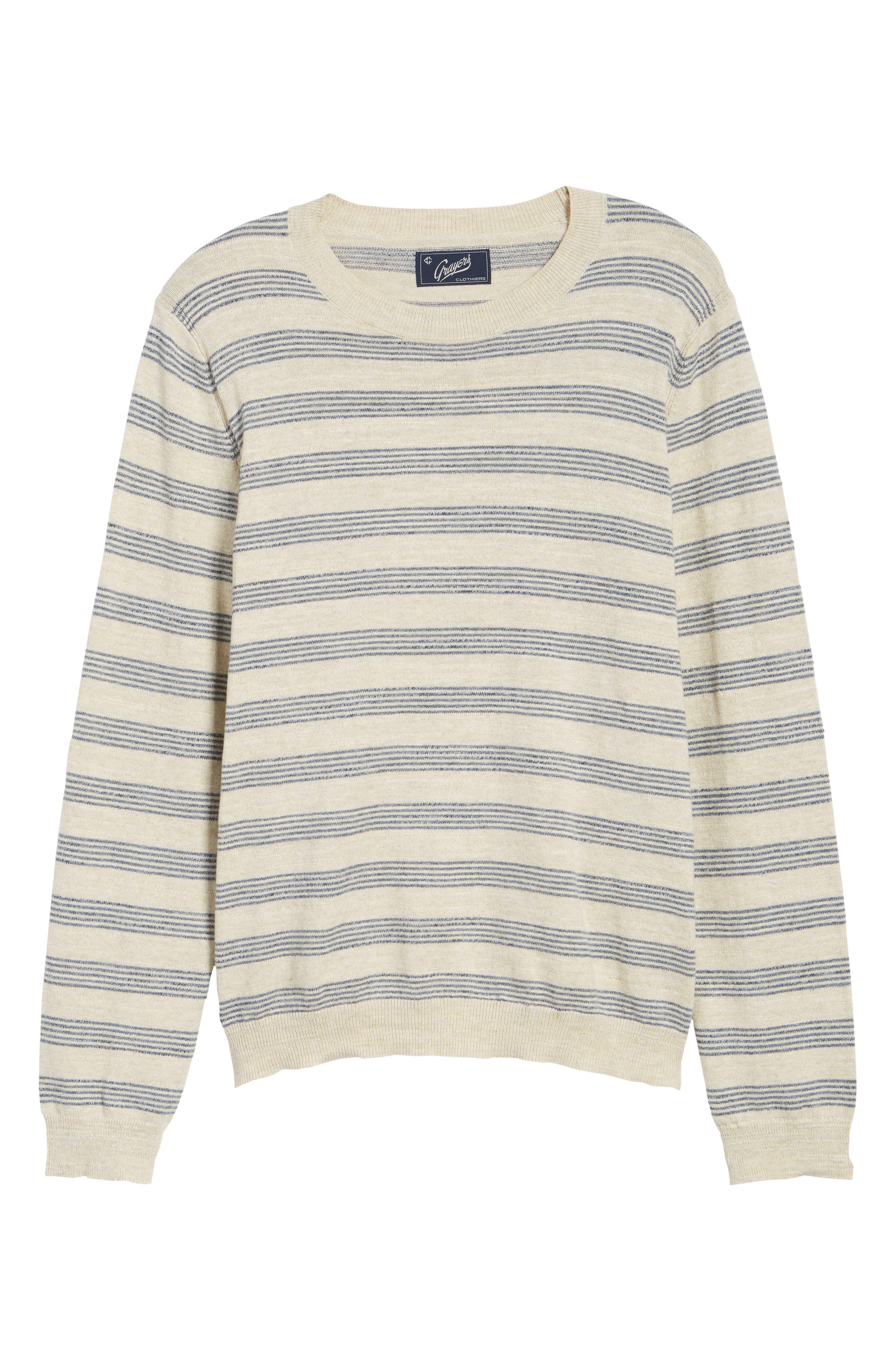 Stripe Cotton Sweater,                             Alternate thumbnail 6, color,                             900