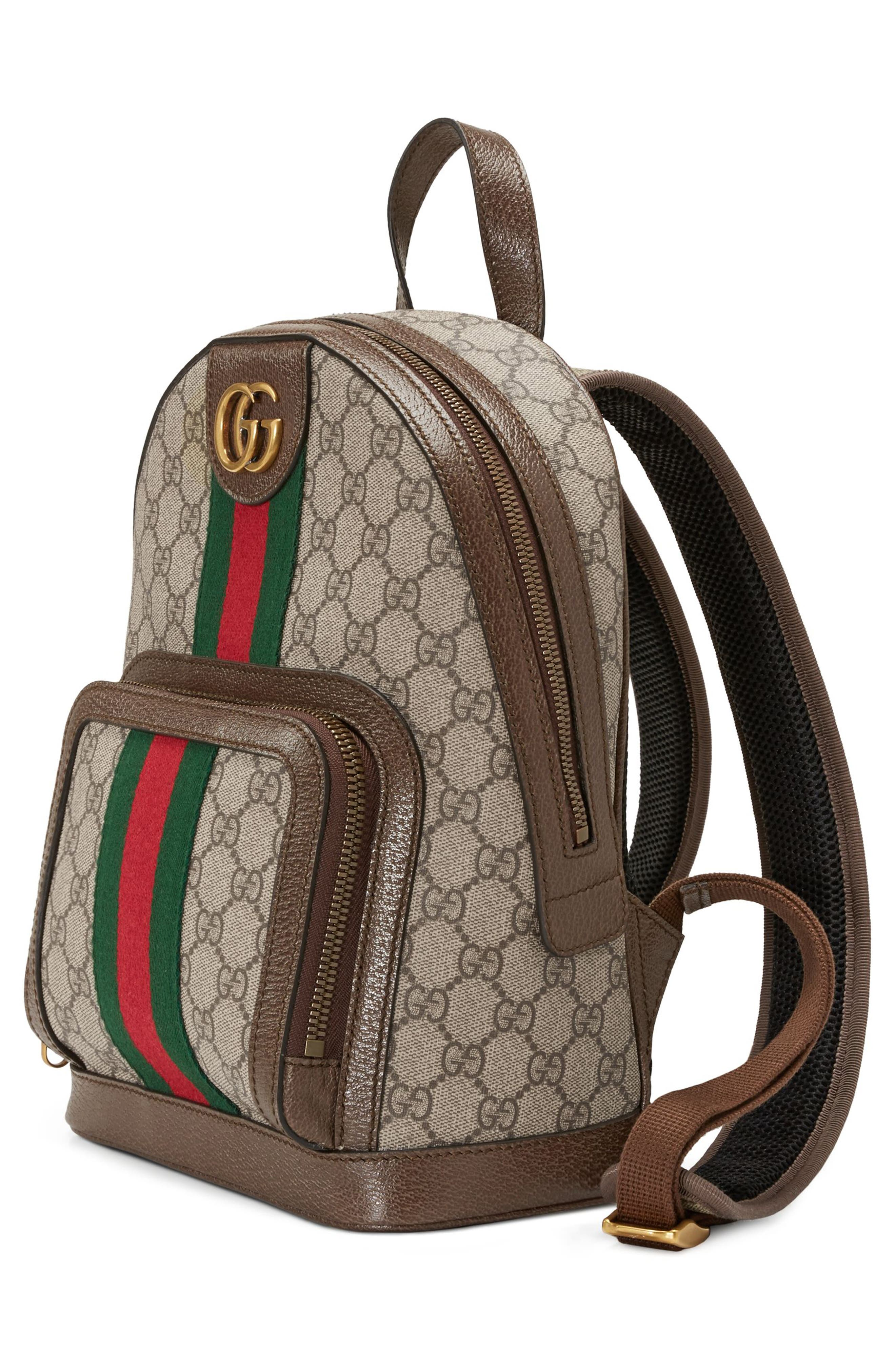 Small Ophidia GG Supreme Canvas Backpack,                             Alternate thumbnail 4, color,                             BEIGE EBONY/ NEW ACERO