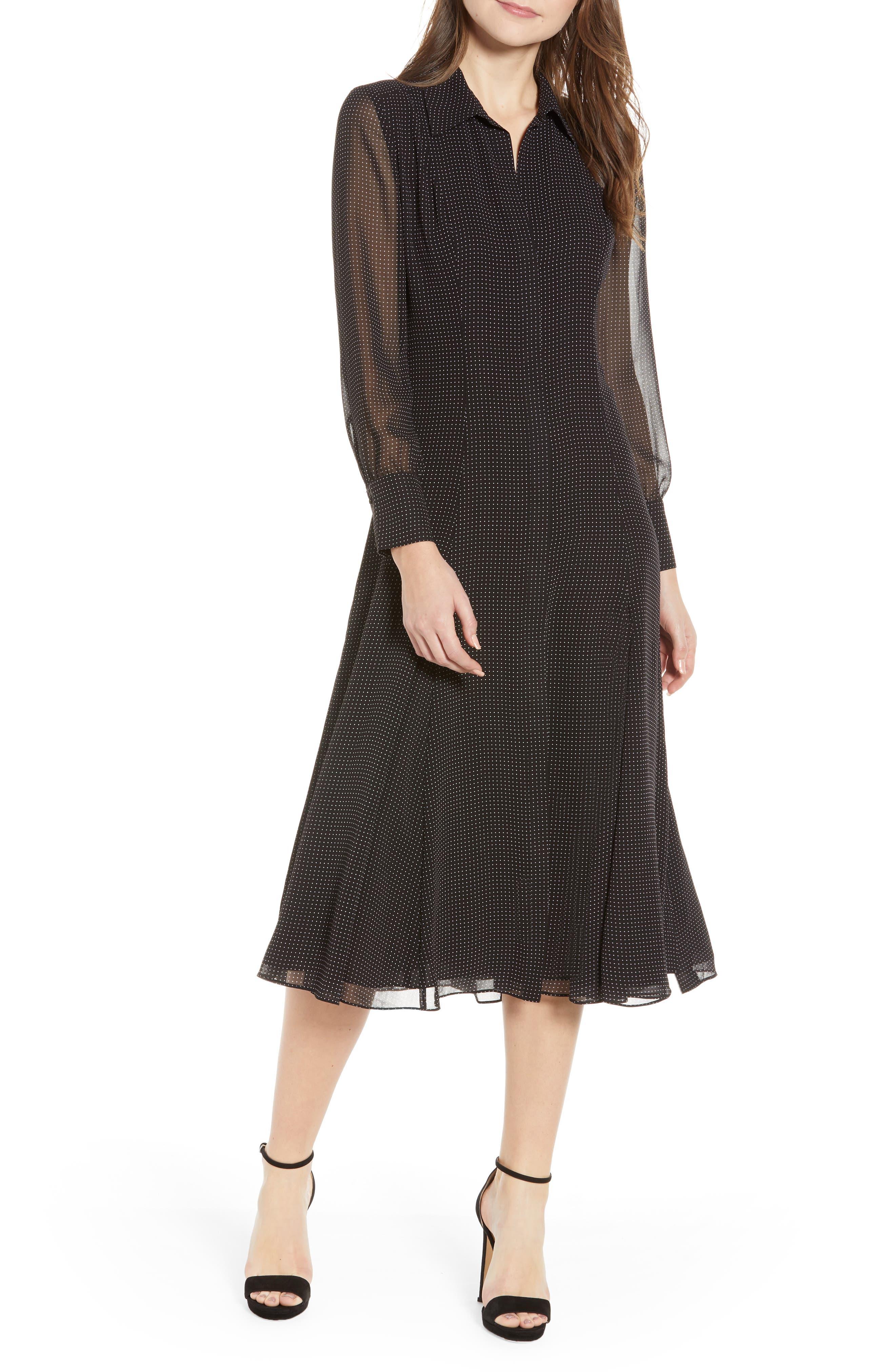 REBECCA MINKOFF,                             Kimberly Dot Sheer Sleeve Dress,                             Main thumbnail 1, color,                             BLACK/ WHITE