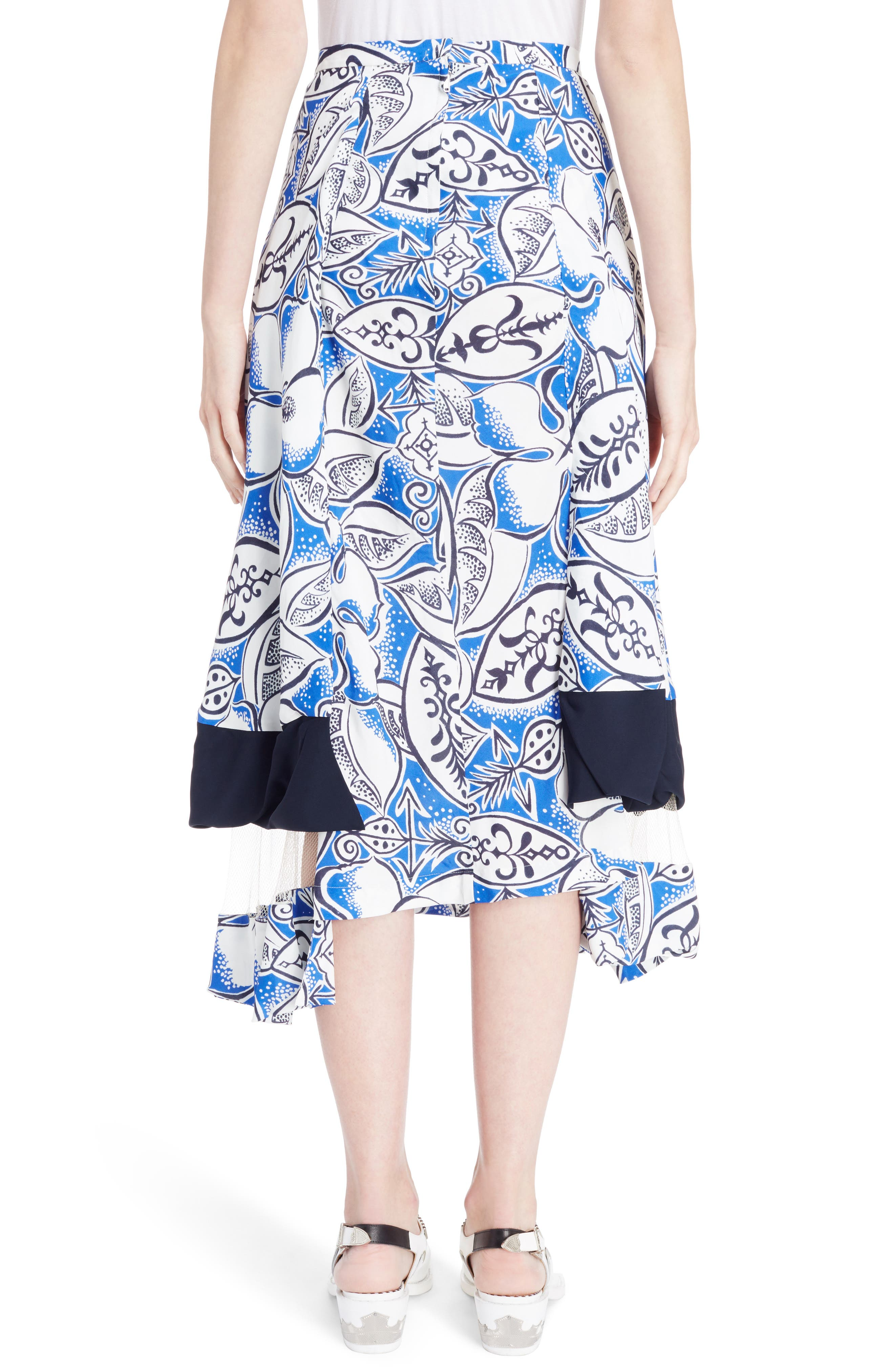 Print Tiered Skirt with Mesh Insets,                             Alternate thumbnail 2, color,