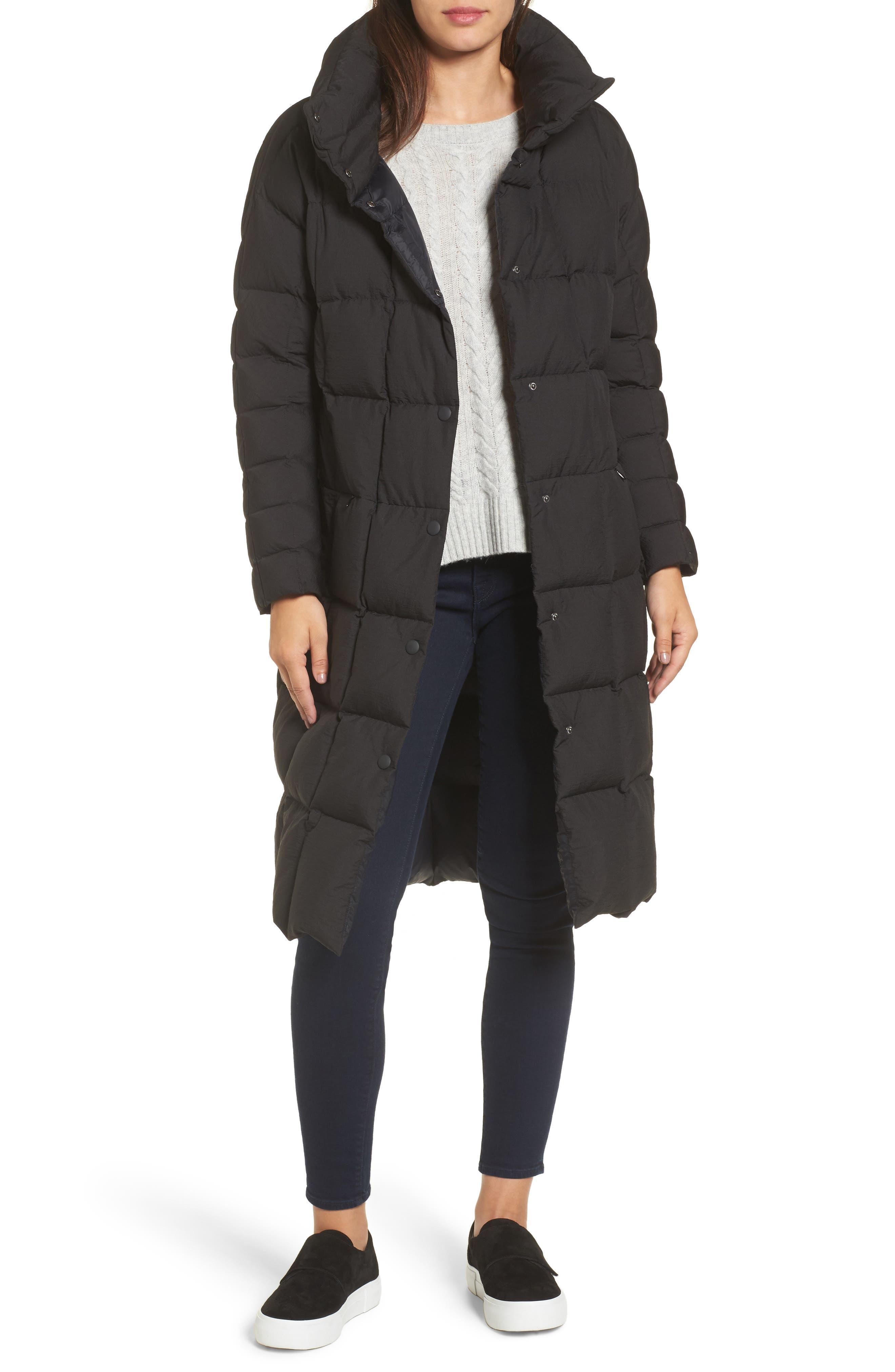 Carley Packable Long Coat,                             Main thumbnail 1, color,                             BLACK