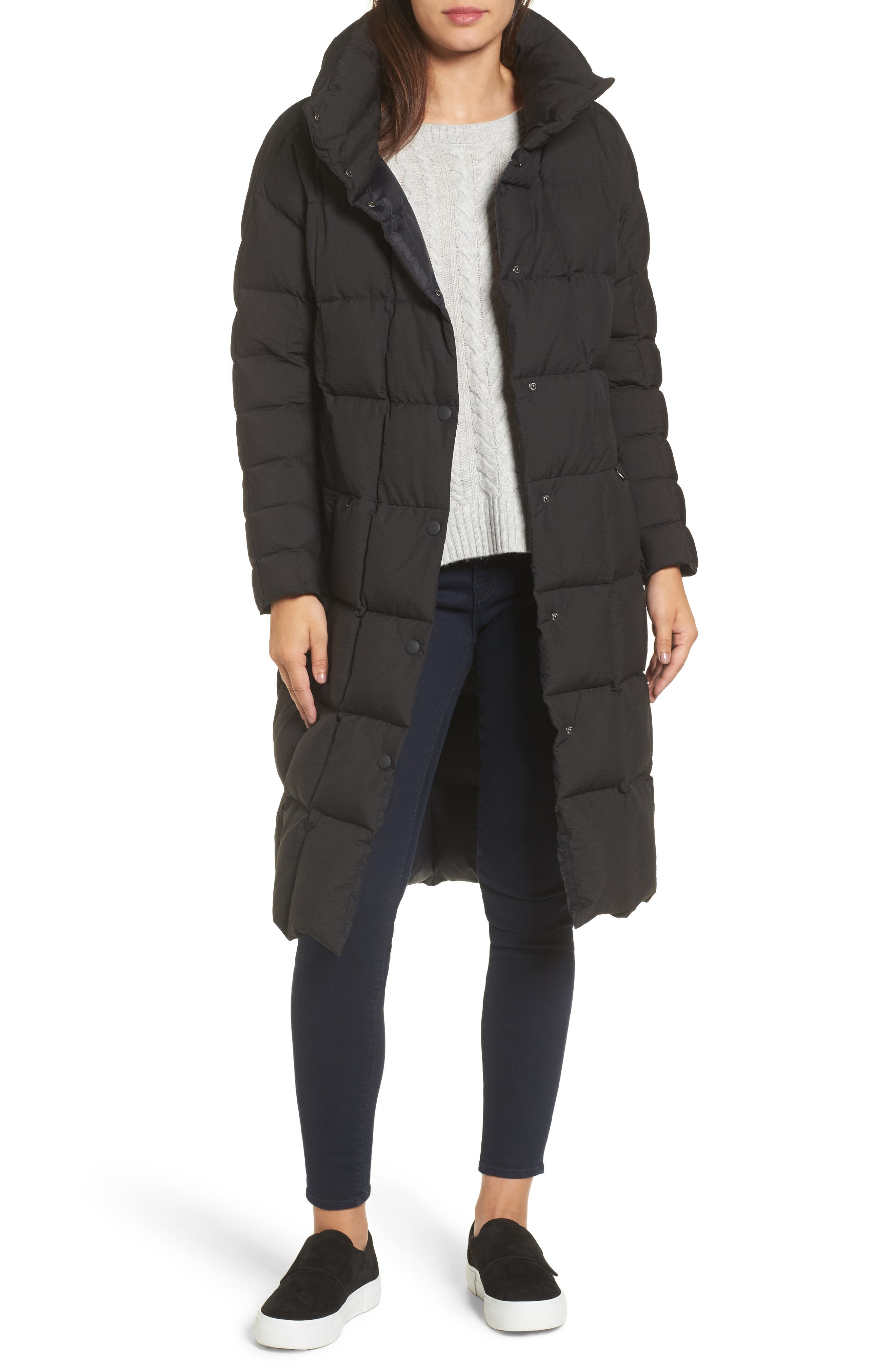Carley Packable Long Coat,                         Main,                         color, BLACK