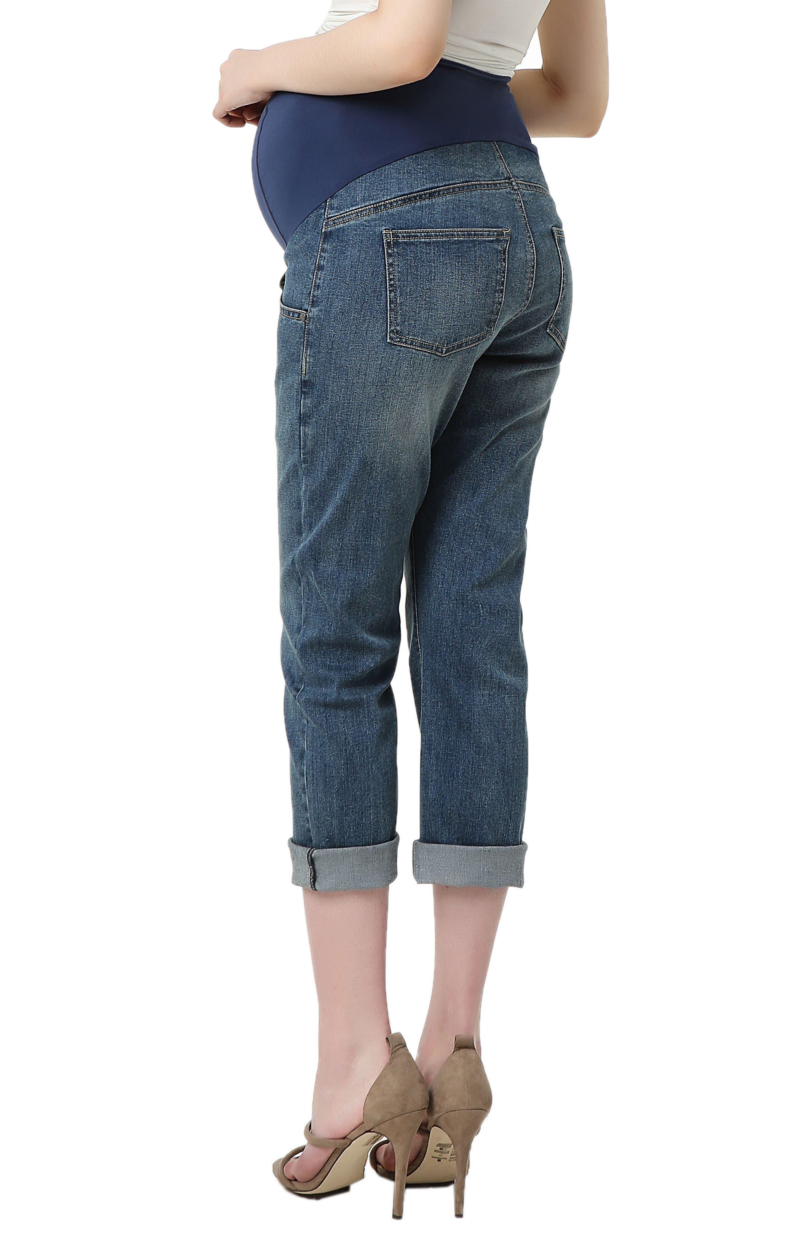 Jodie Crop Girlfriend Maternity Jeans,                             Alternate thumbnail 2, color,                             MEDIUM INDIGO
