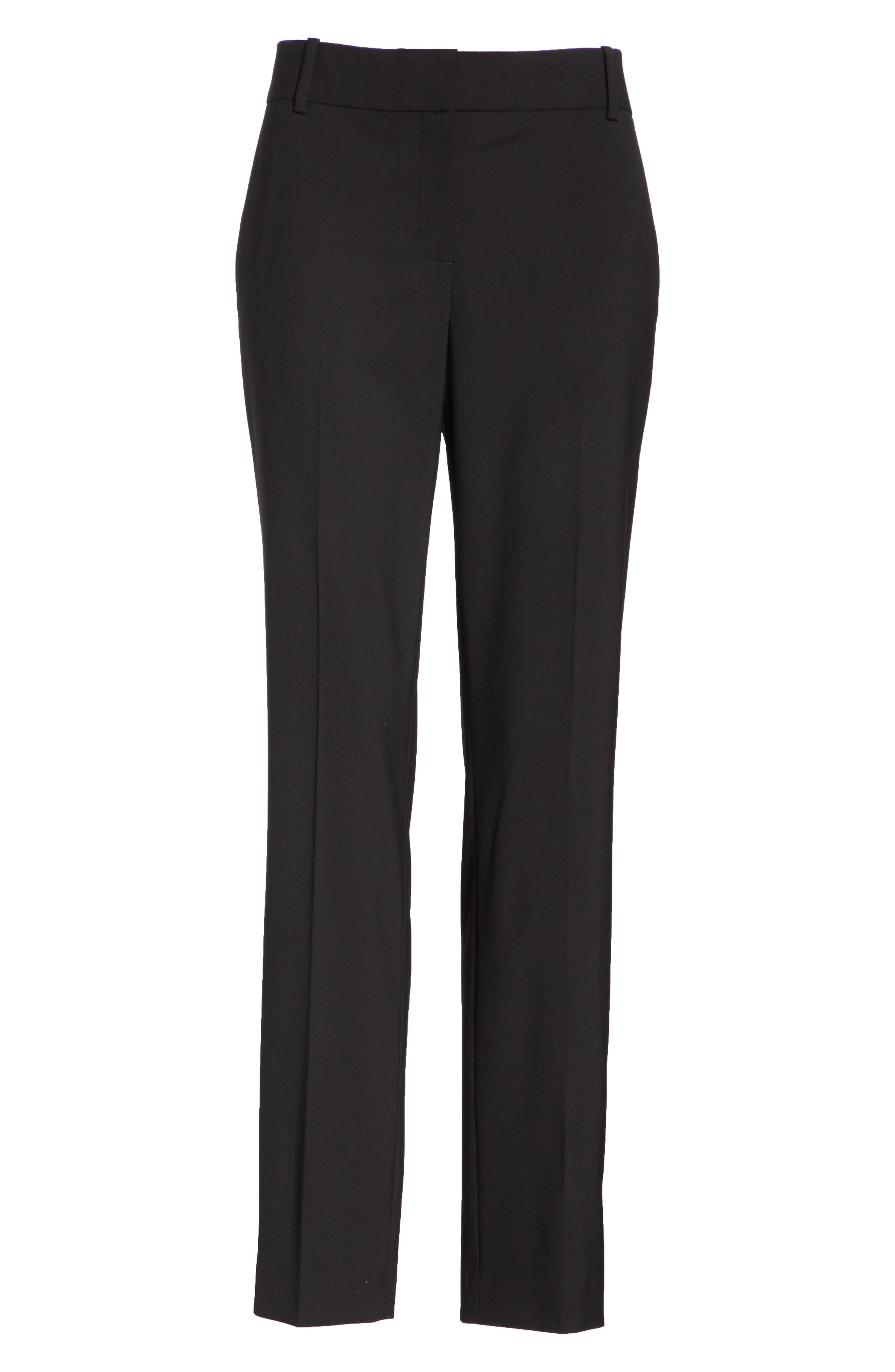 Straight Leg Stretch Wool Trousers,                             Alternate thumbnail 6, color,                             BLACK