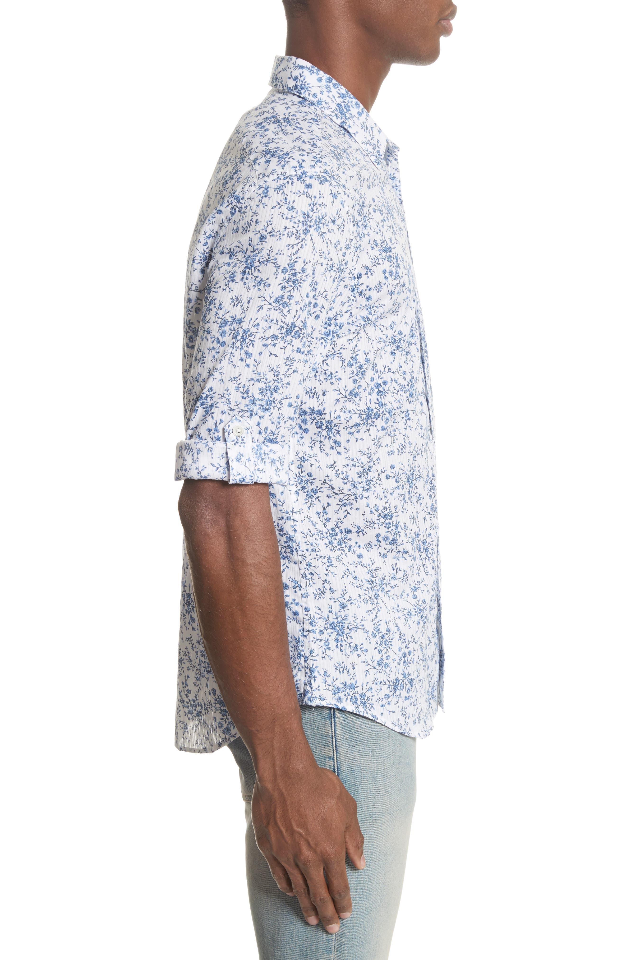 John Varvatos Slim Fit Floral Print Shirt,                             Alternate thumbnail 3, color,                             448