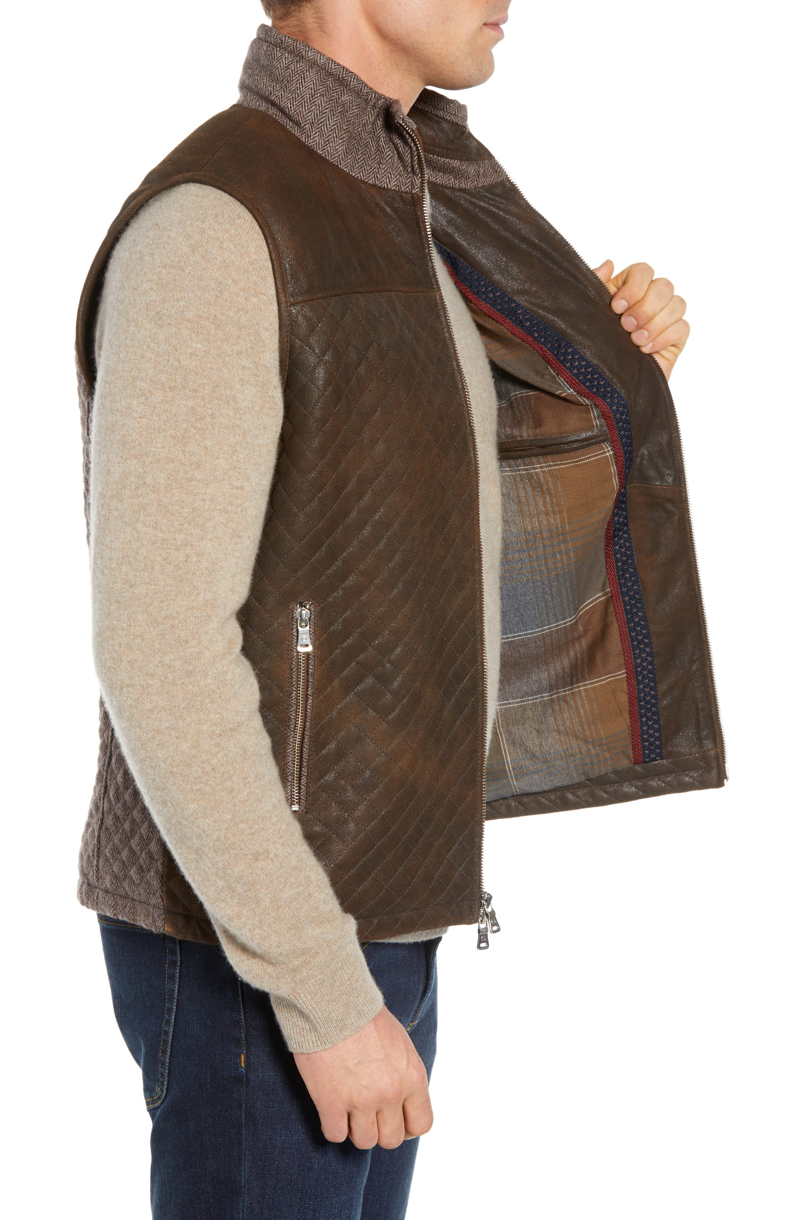 Quilted Leather & Wool Vest,                             Alternate thumbnail 3, color,                             201