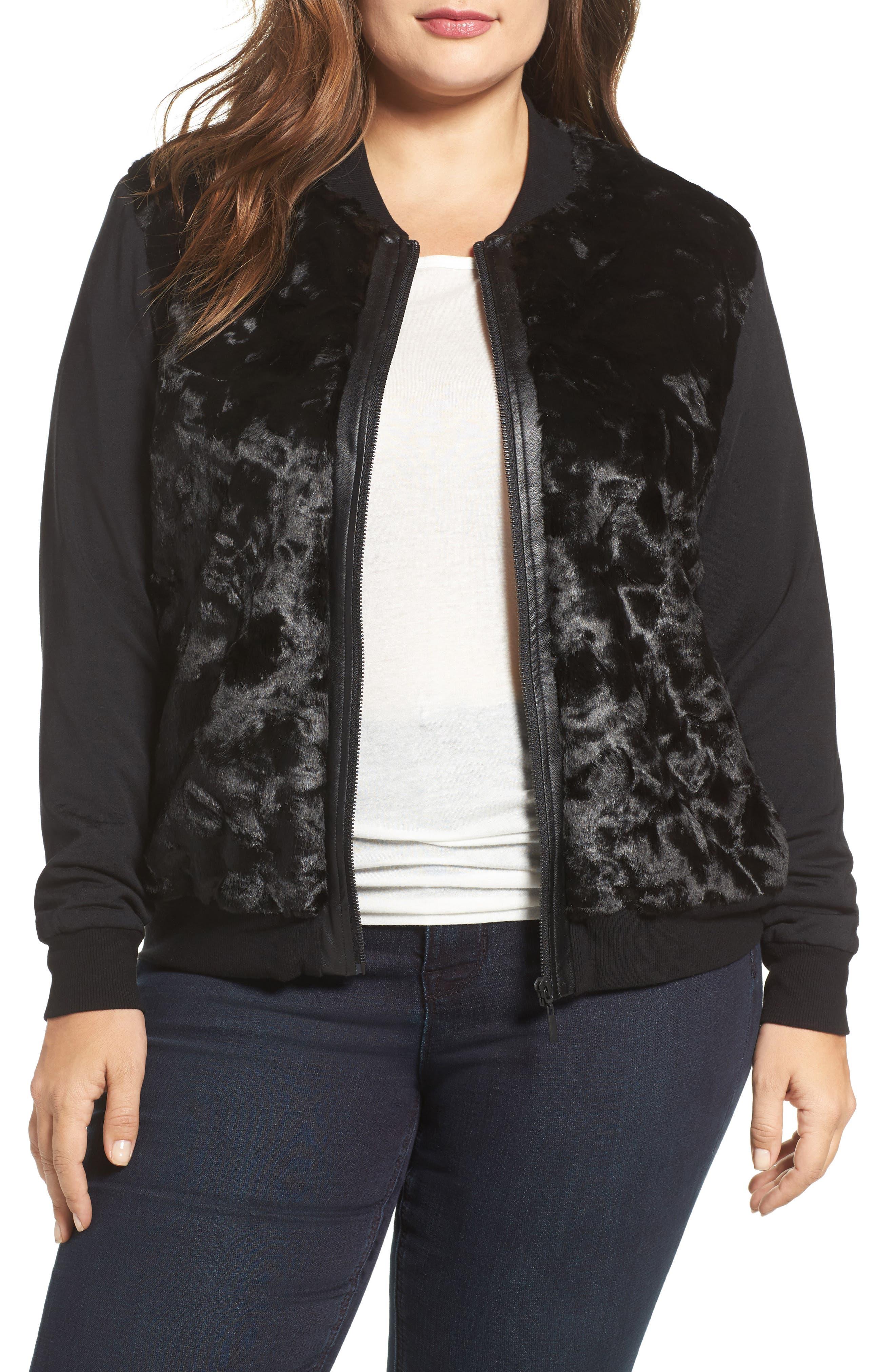 Watson Faux Fur Bomber Jacket, Main, color, 001