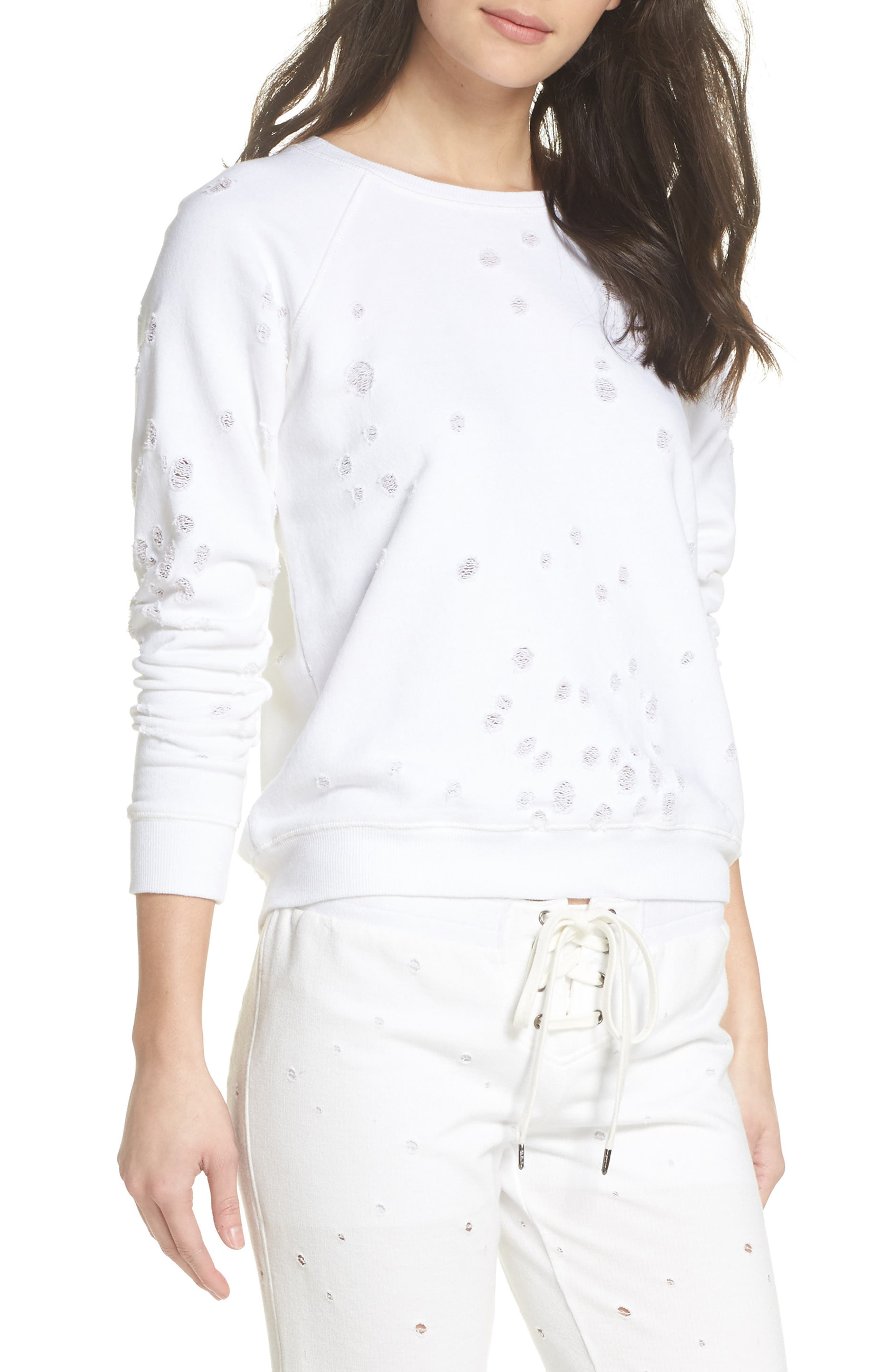 Distressed Lounge Sweatshirt,                             Main thumbnail 1, color,                             WHITE