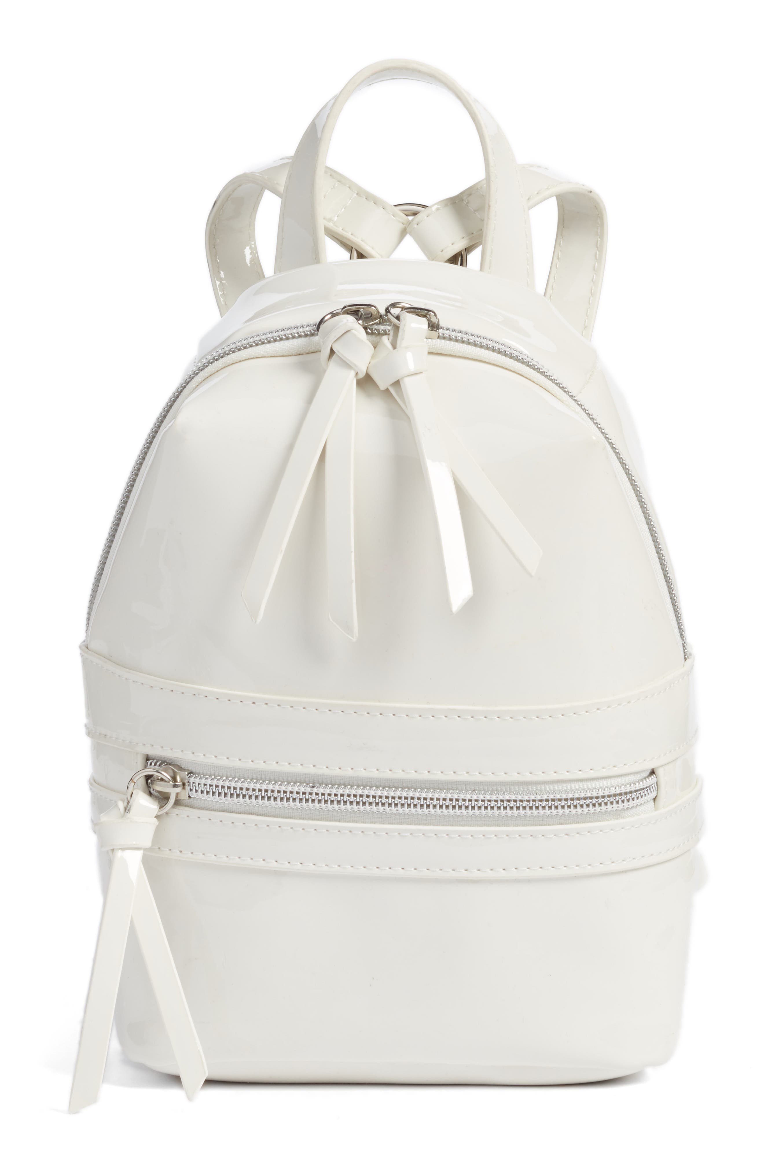 Faux Patent Leather Mini Backpack,                             Main thumbnail 1, color,