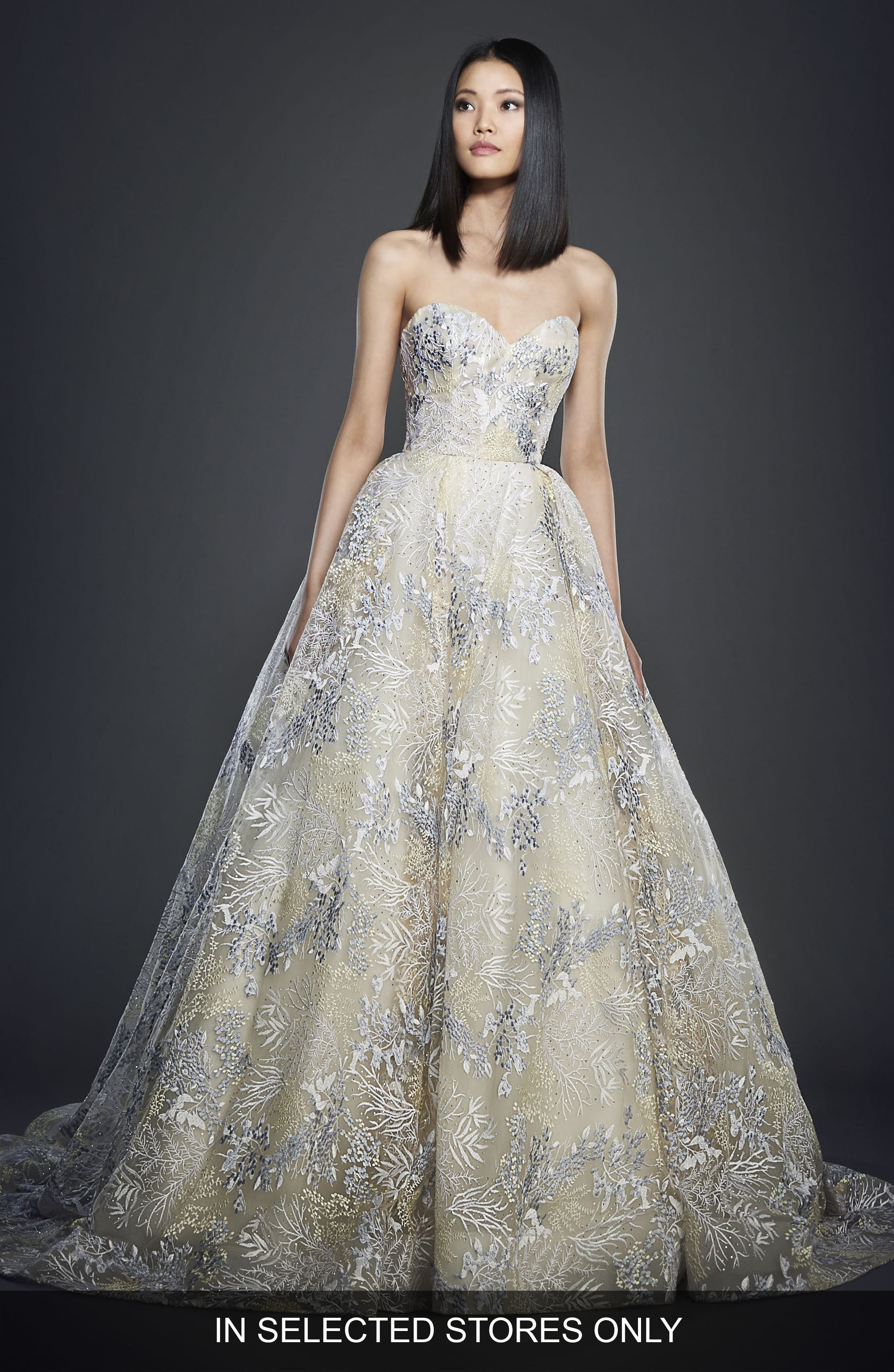 Embellished Strapless Ballgown,                         Main,                         color, IVORY/ WISTERIA