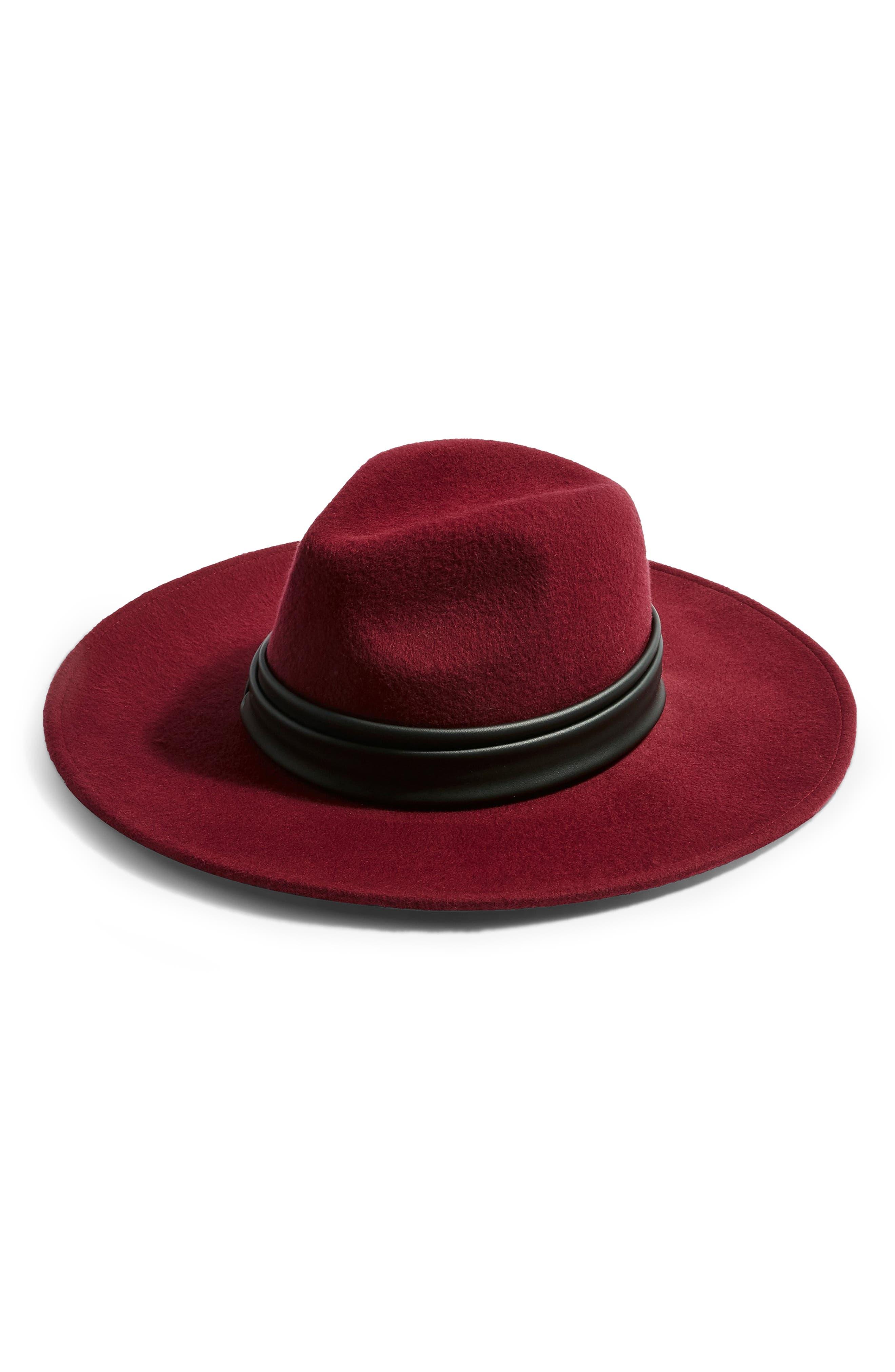 Rockit Wool Felt Panama Hat,                             Main thumbnail 1, color,                             BURGUNDY MULTI