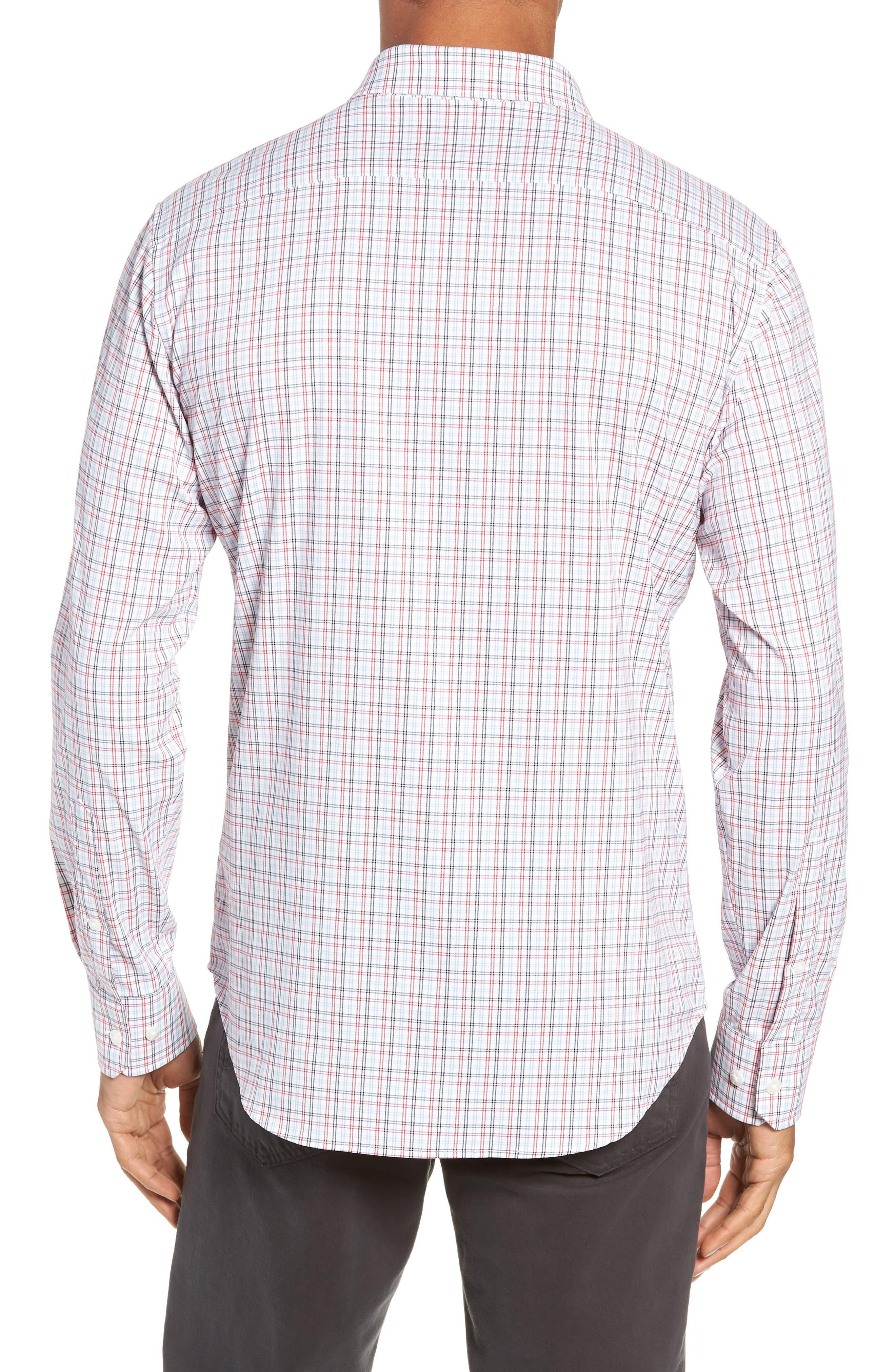 Slim Fit Check Performance Sport Shirt,                             Alternate thumbnail 3, color,                             HILLGROVE CHECK - CERISE