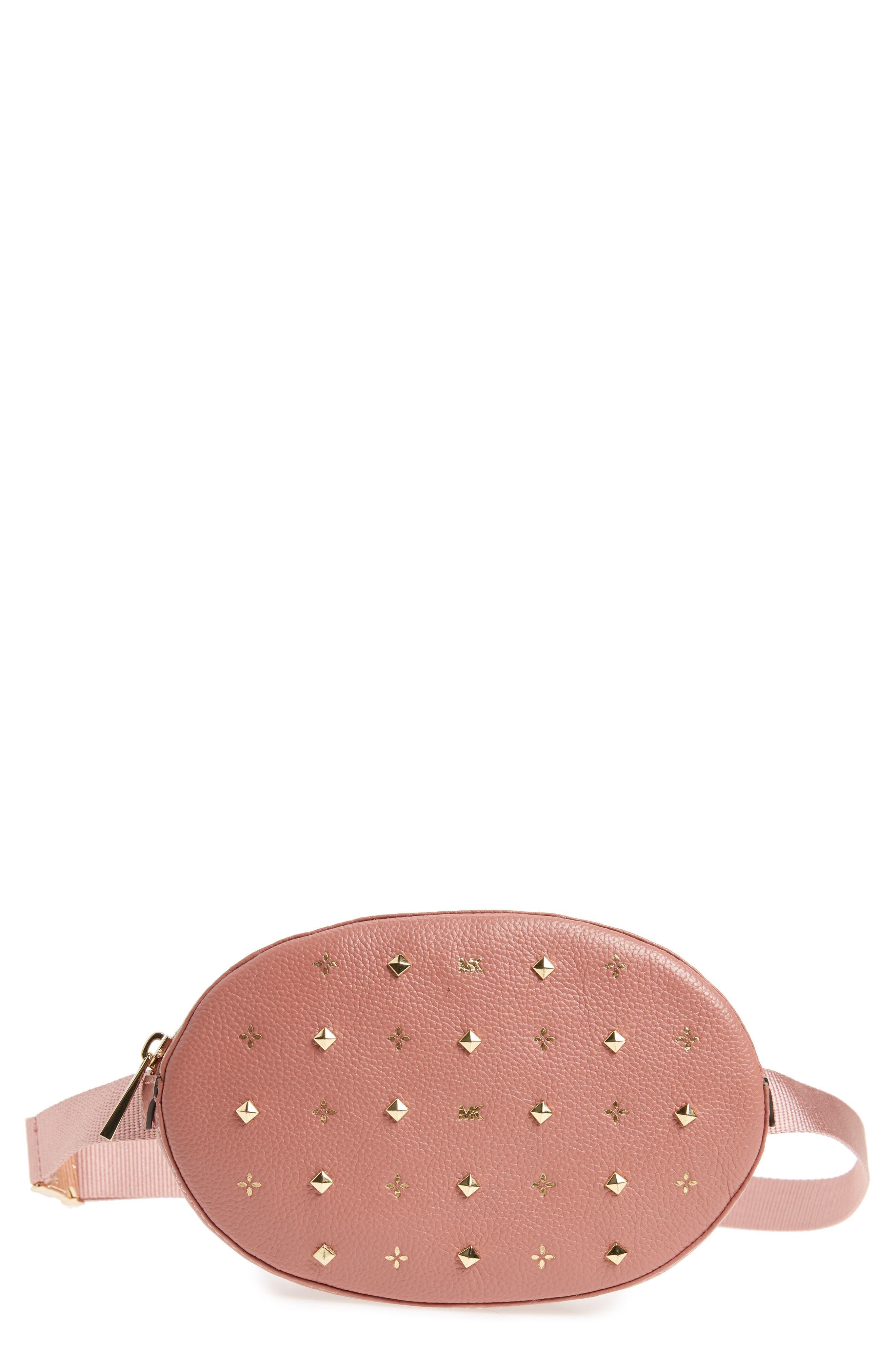 Studded Logo Leather Belt Bag,                         Main,                         color, ROSE/ ROSE