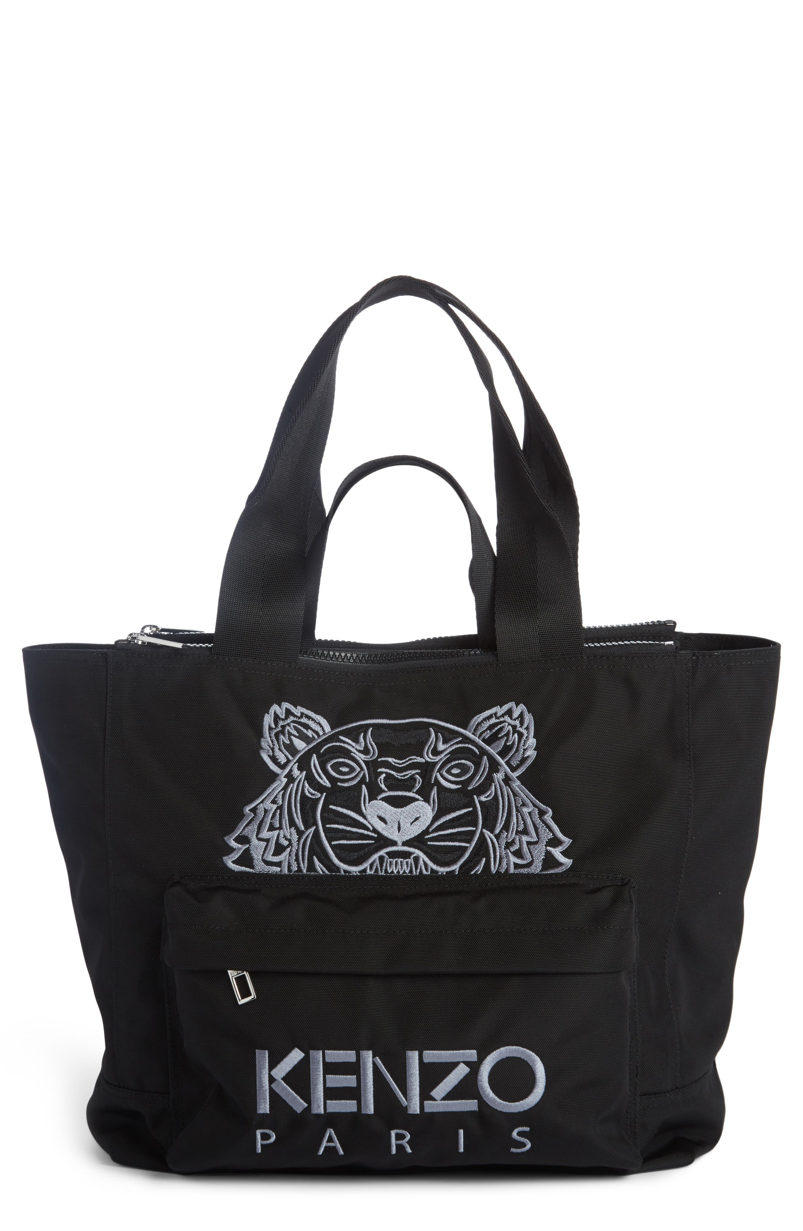 Large Kanvas Embroidered Tiger Tote,                             Main thumbnail 1, color,                             001