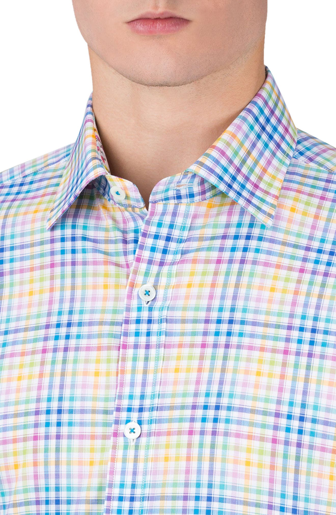 Shaped Fit Check Sport Shirt,                             Alternate thumbnail 3, color,