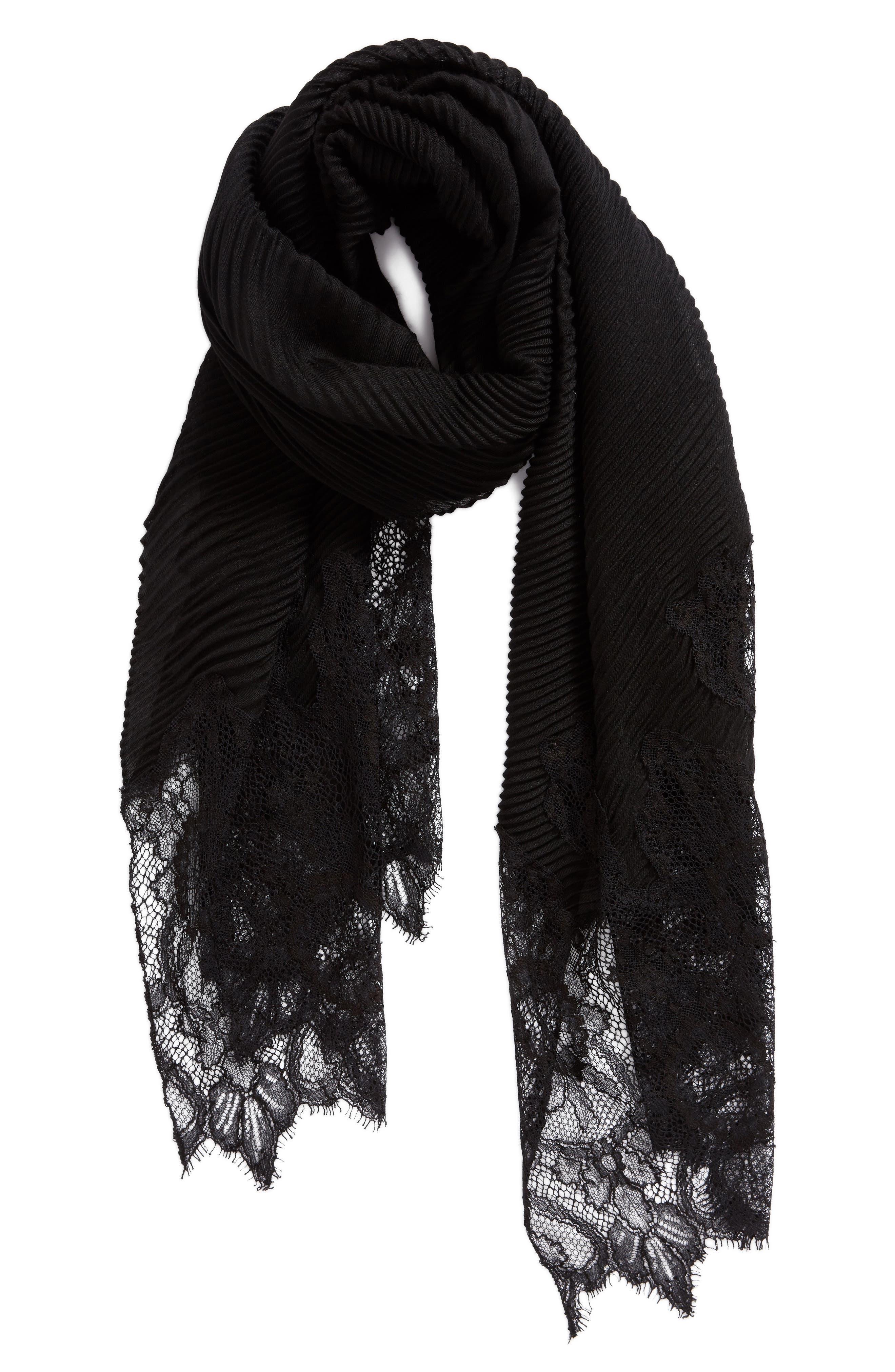 VALENTINO,                             Cashmere & Wool Wrap,                             Alternate thumbnail 3, color,                             NERO/ NERO
