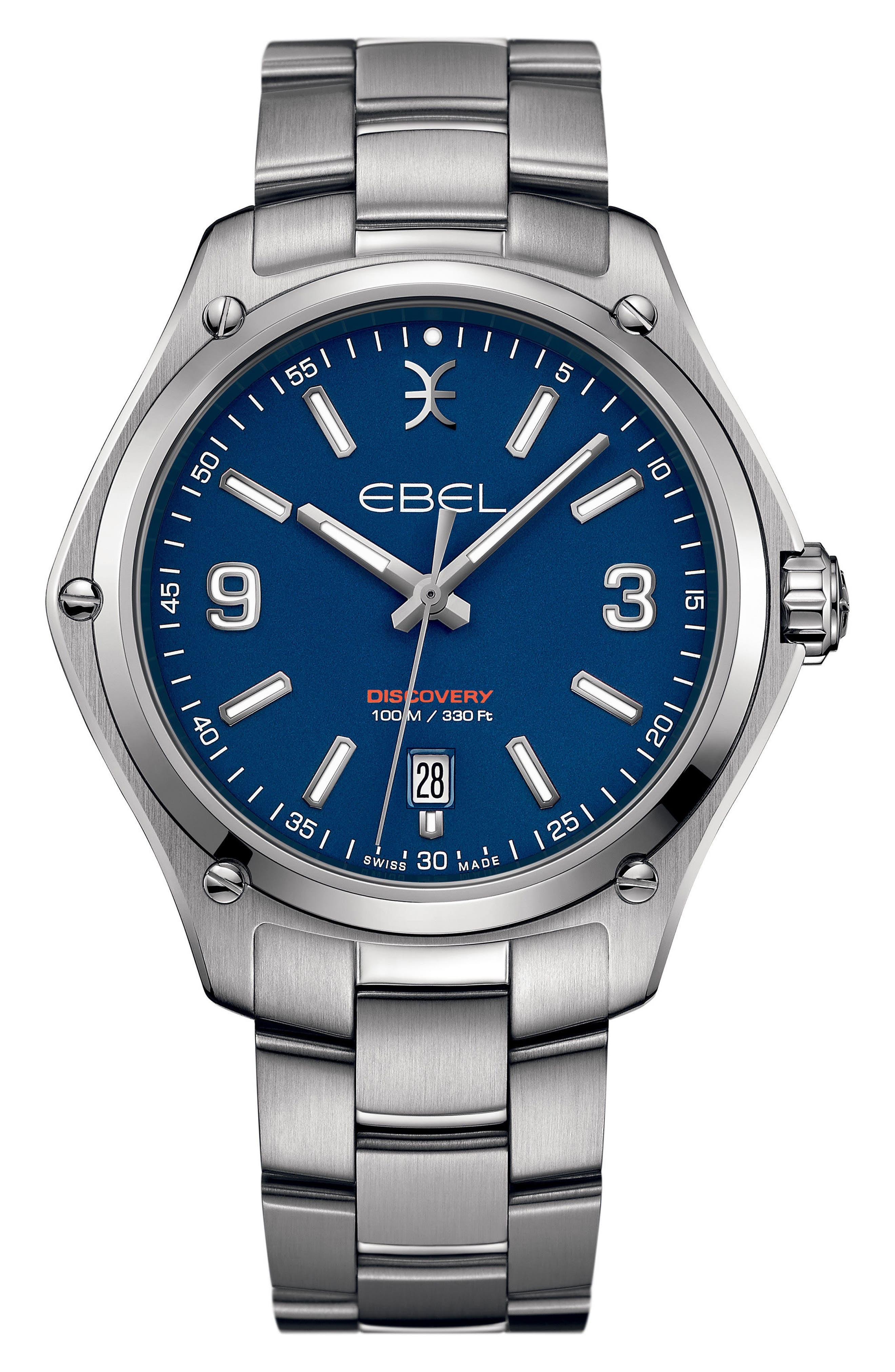 Discovery Bracelet Watch, 41mm,                             Main thumbnail 1, color,                             SILVER/ BLUE/ SILVER