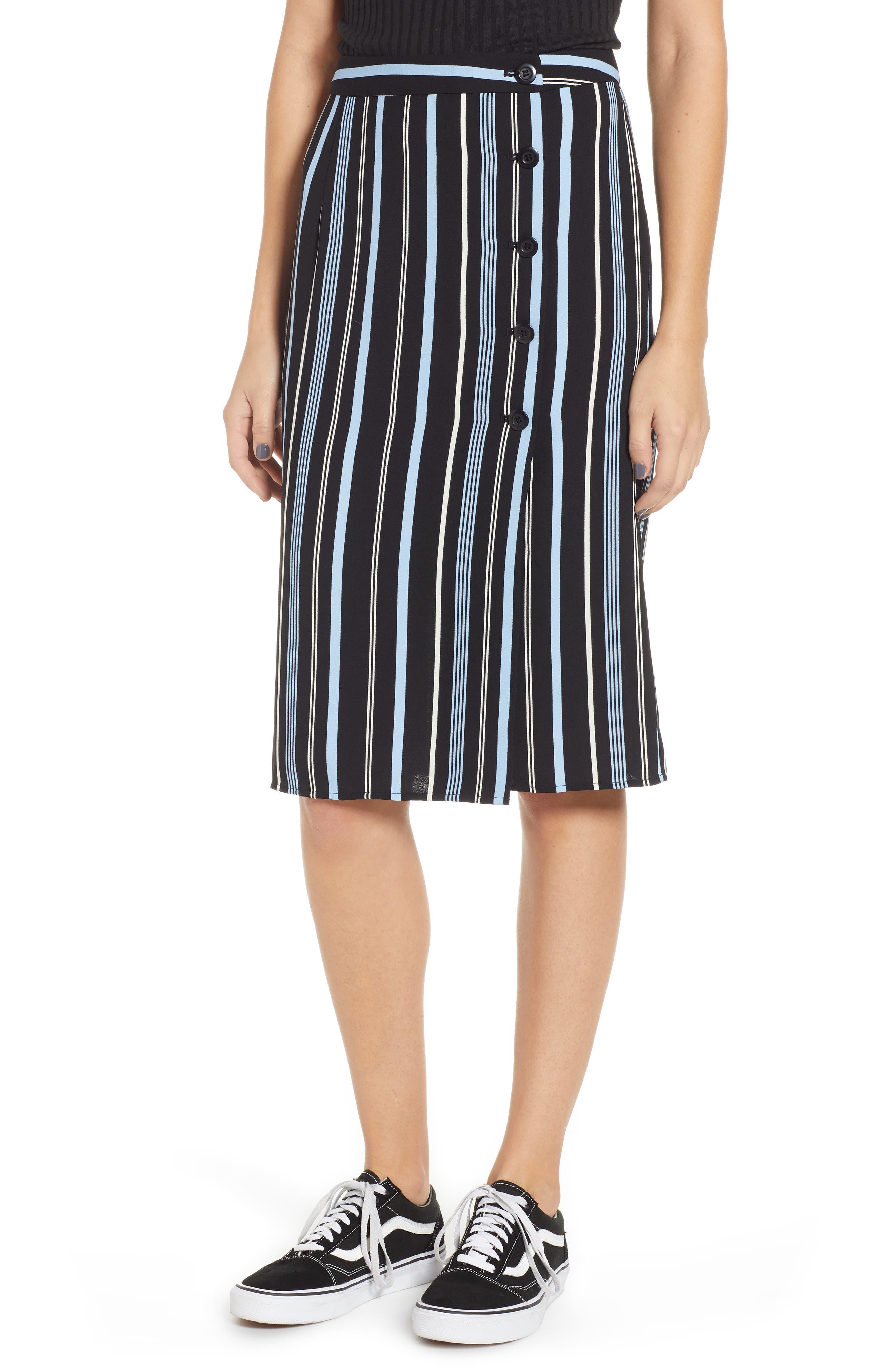 Button Wrap Skirt, Main, color, BLACK MULTI COLORED STRIPE