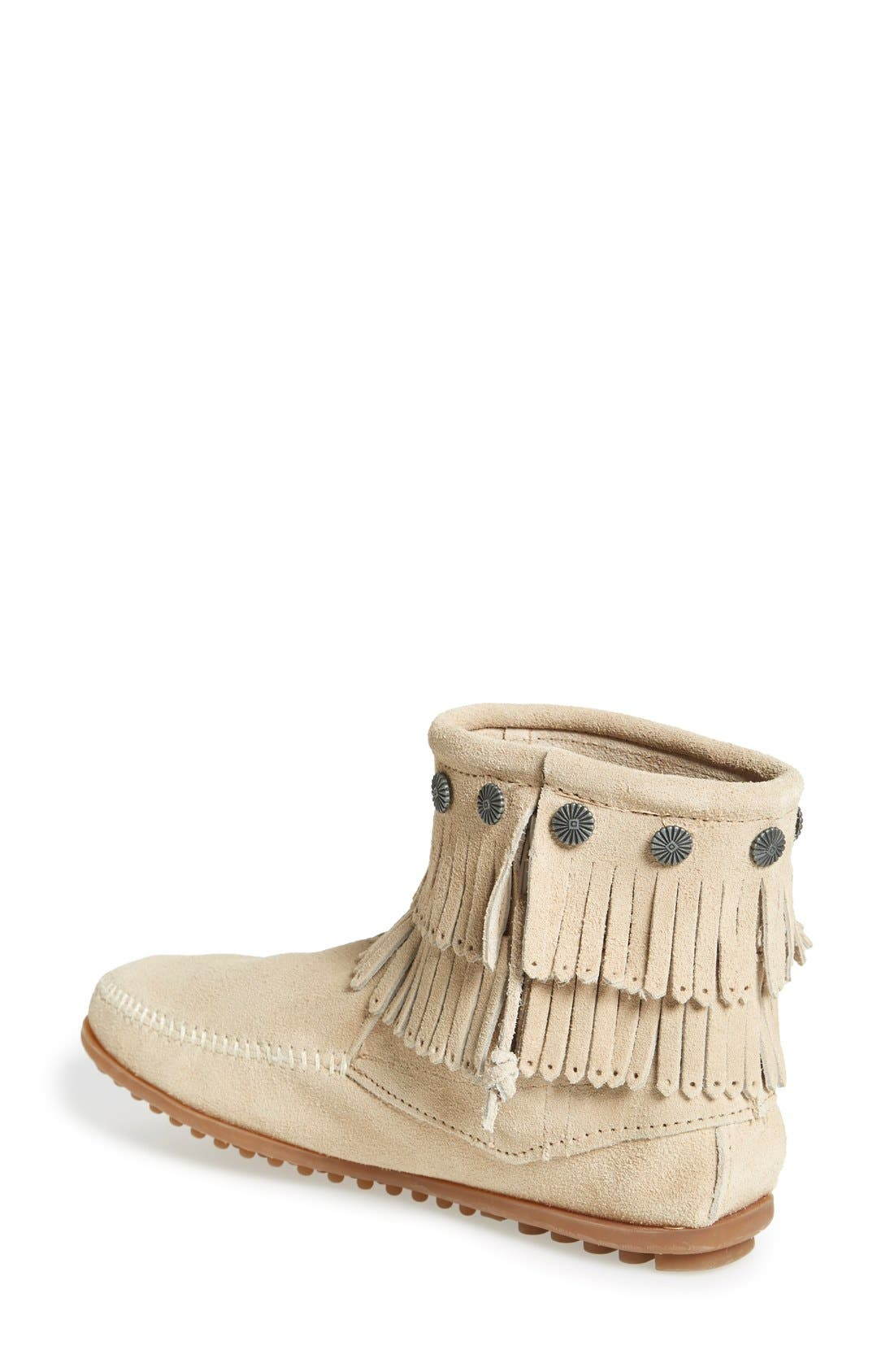 Double Fringe Boot,                             Alternate thumbnail 2, color,                             STONE SUEDE