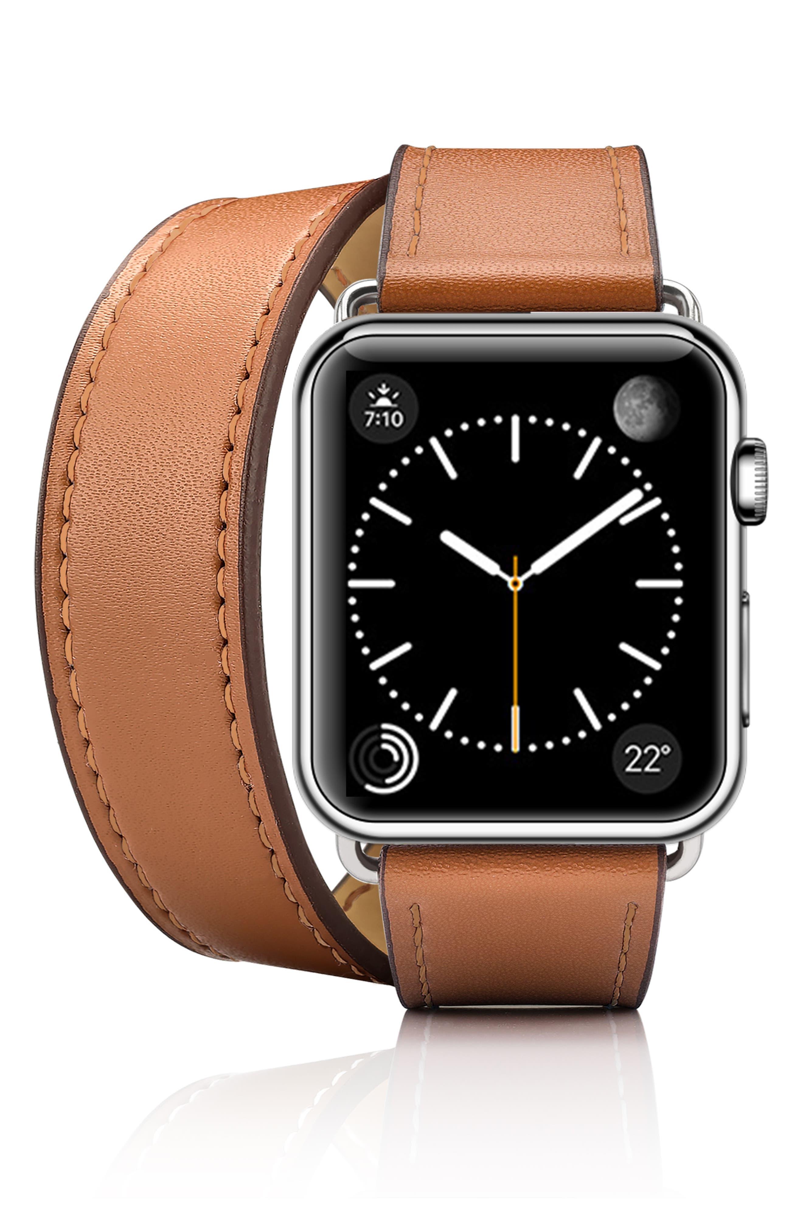 Double Tour Leather Apple Watch Strap,                             Alternate thumbnail 3, color,                             200