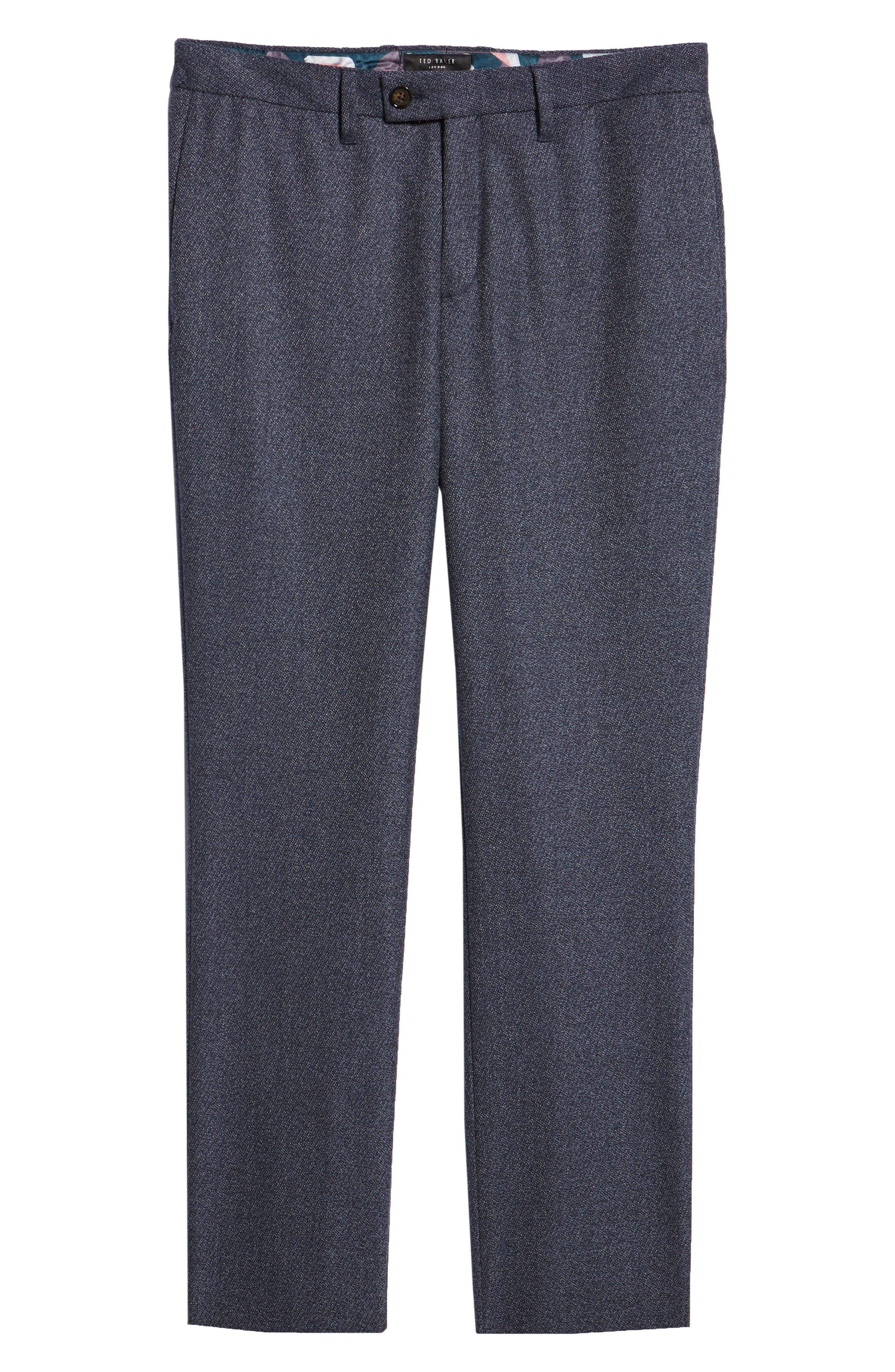 TED BAKER LONDON,                             Buftro Flat Front Slim Twill Trousers,                             Alternate thumbnail 6, color,                             BLUE