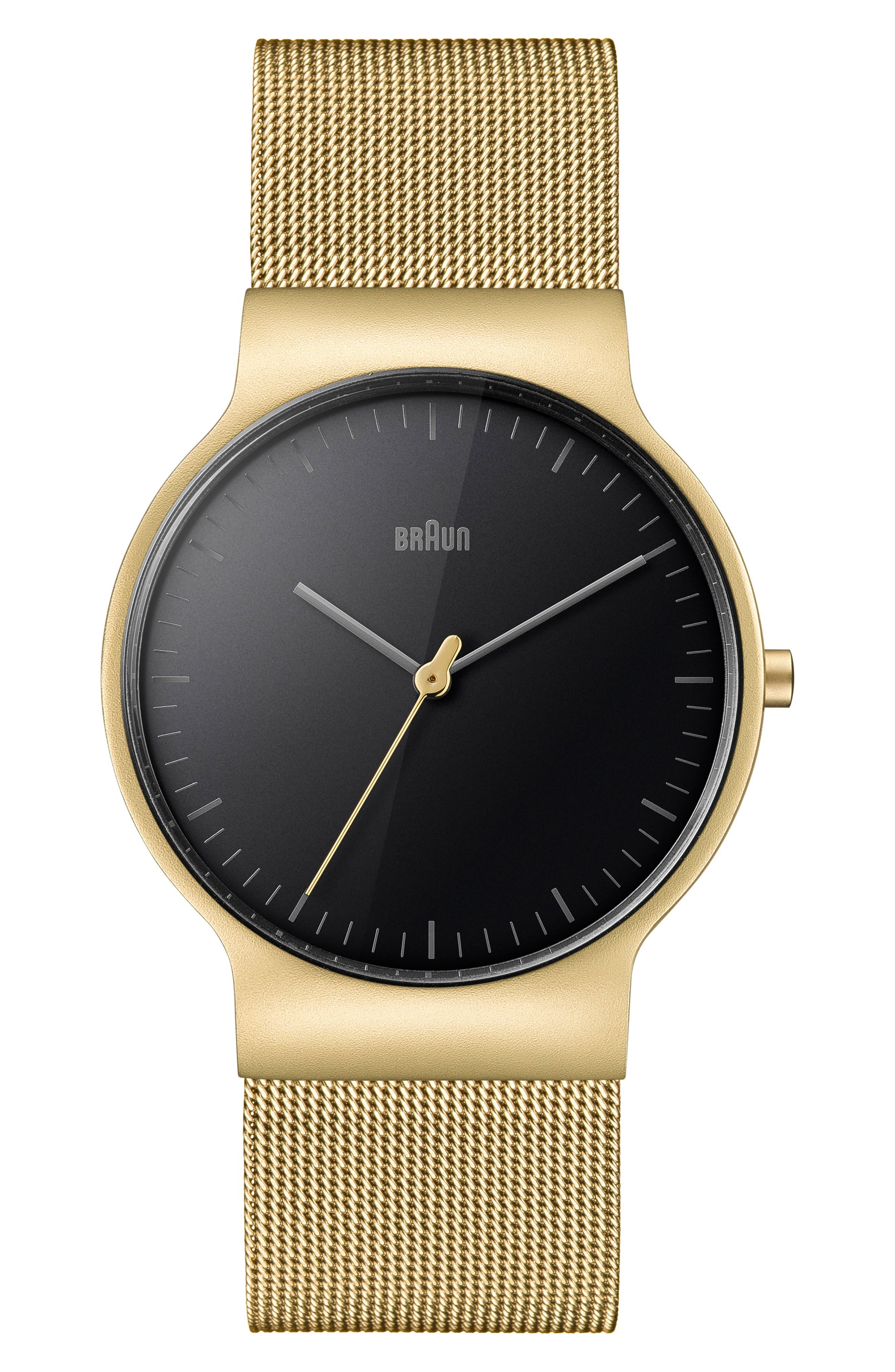 BRAUN Classic Mesh Bracelet Watch, 38Mm in Gold/ Black/ Gold