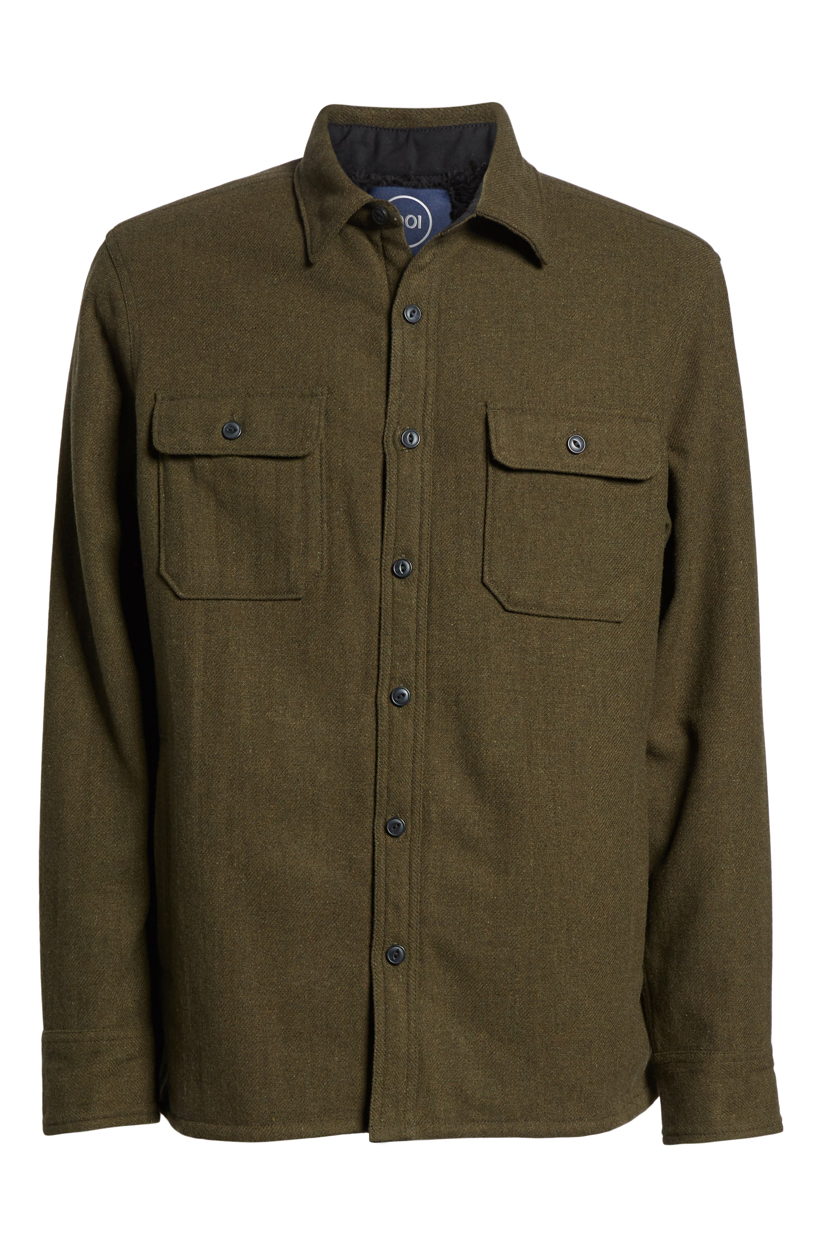Lined Wool Blend Shirt Jacket,                             Alternate thumbnail 6, color,                             GREEN FOREST HEATHER