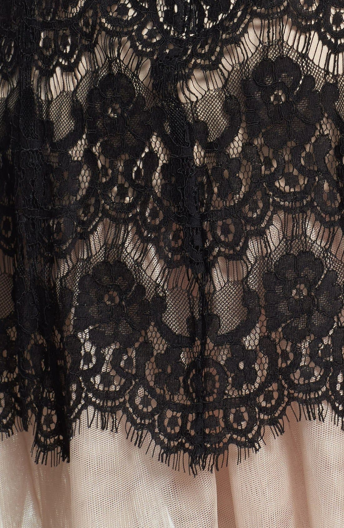 BETSY & ADAM,                             Short Sleeve Lace Fit & Flare Dress,                             Alternate thumbnail 3, color,                             001