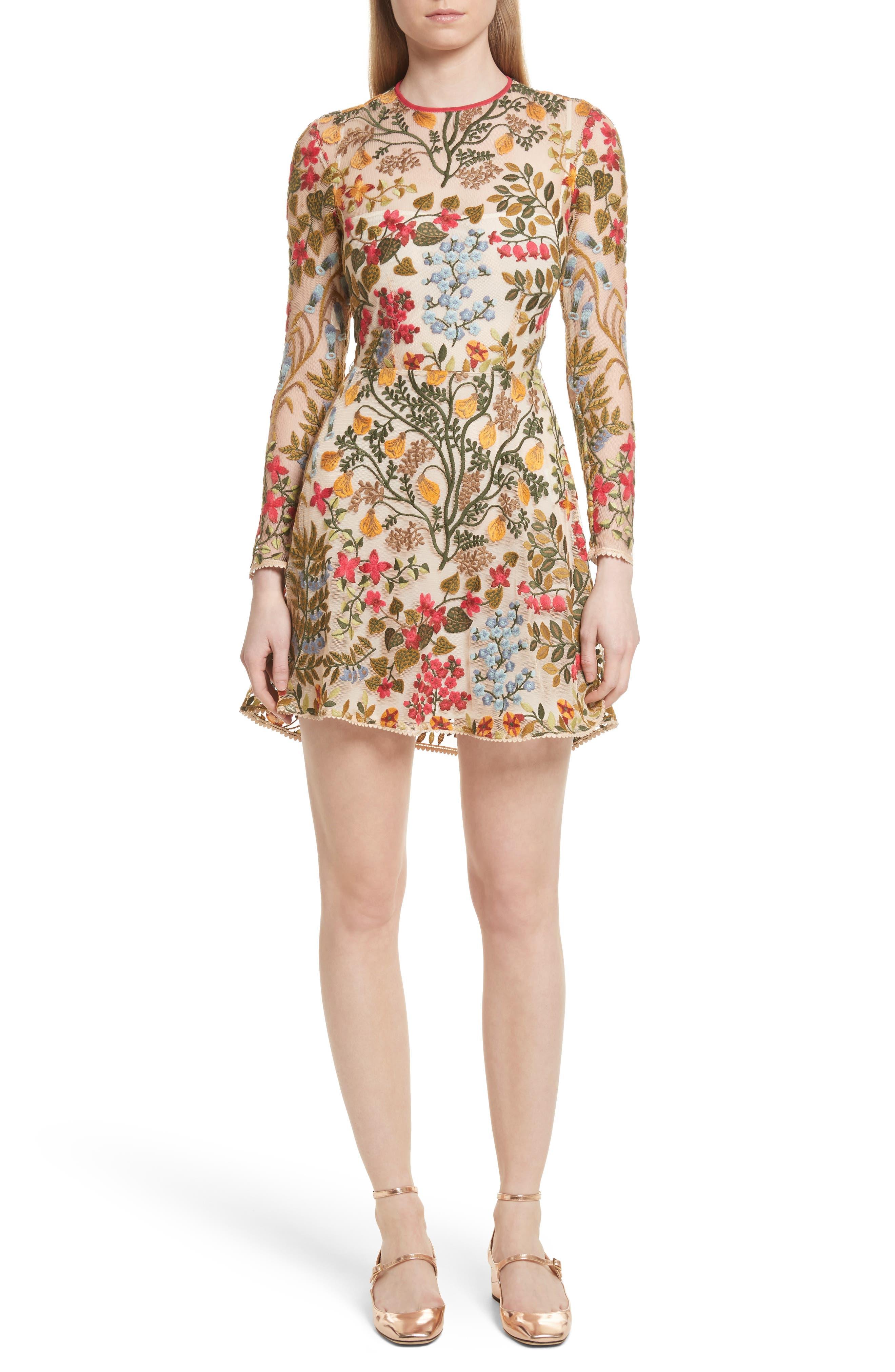 Floral Vine Embroidered Tulle Dress,                         Main,                         color,